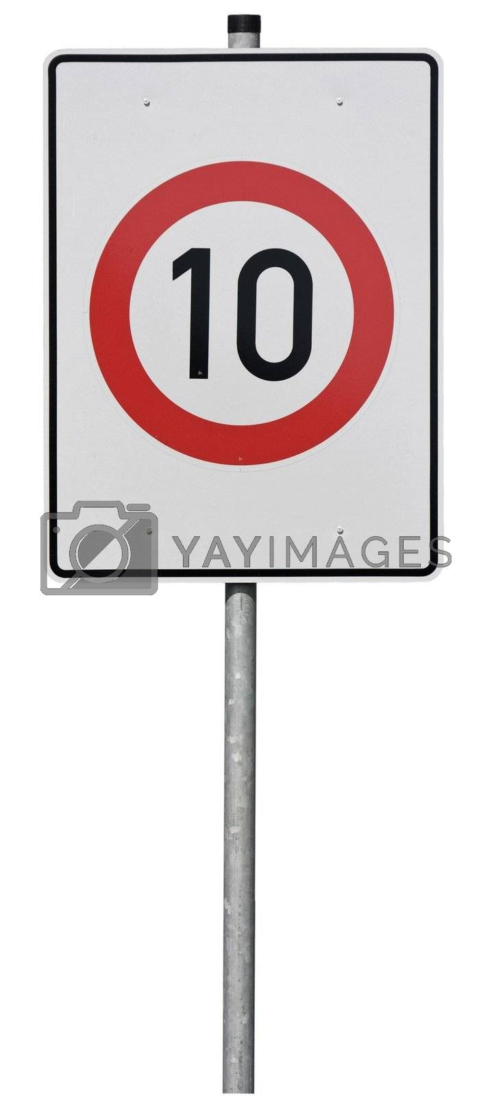 Sign with speed limit (10km)