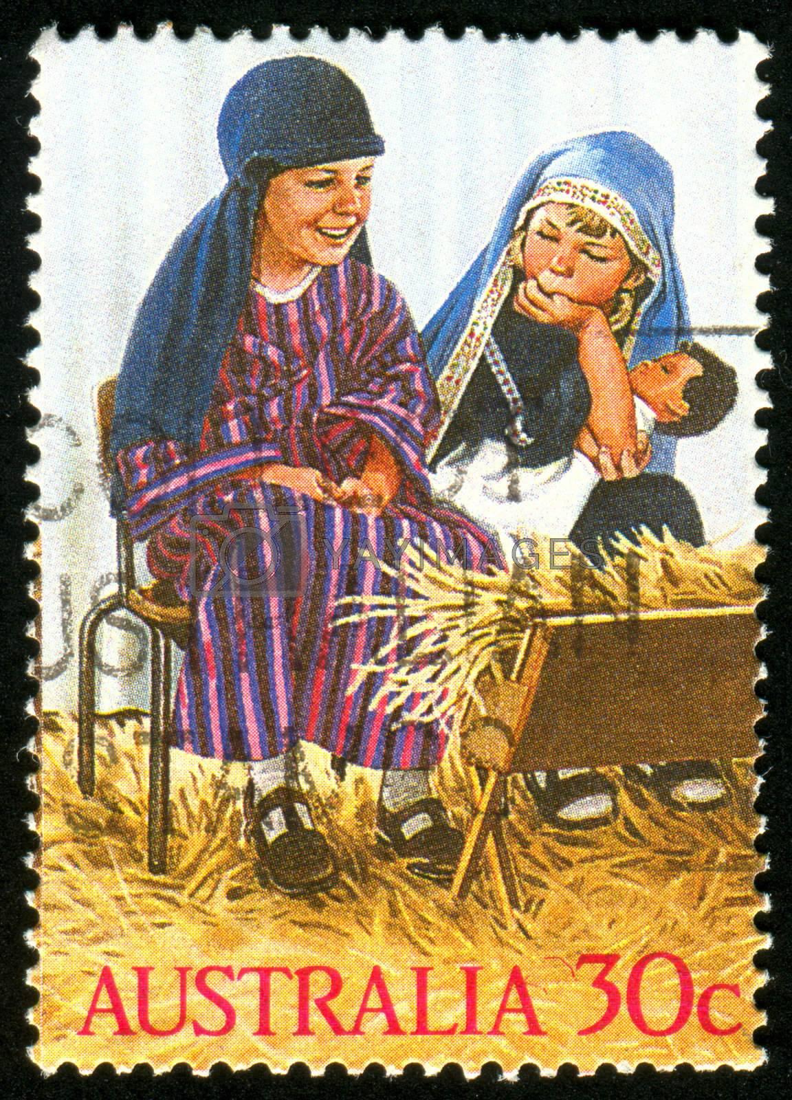AUSTRALIA - CIRCA 1986: stamp printed by Australia, shows Kindergarten nativity play, circa 1986