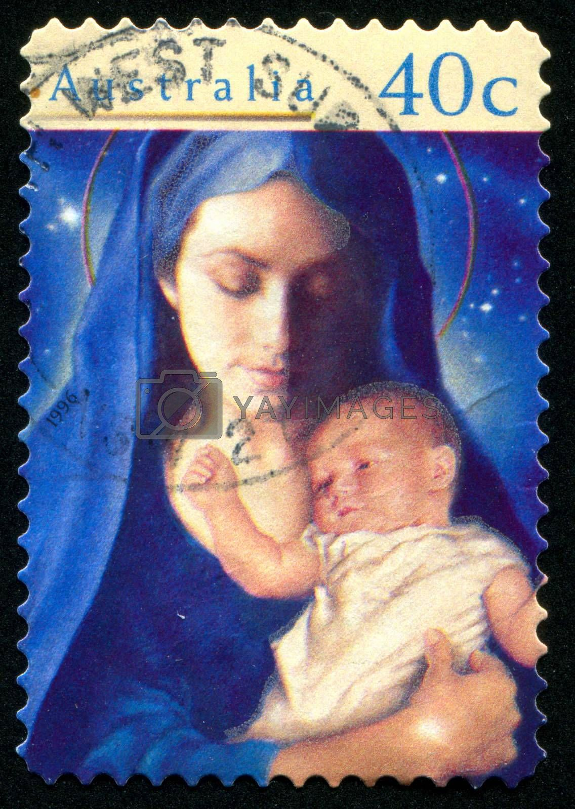 AUSTRALIA - CIRCA 1996: stamp printed by Australia, shows Madonna and Child, circa 1996