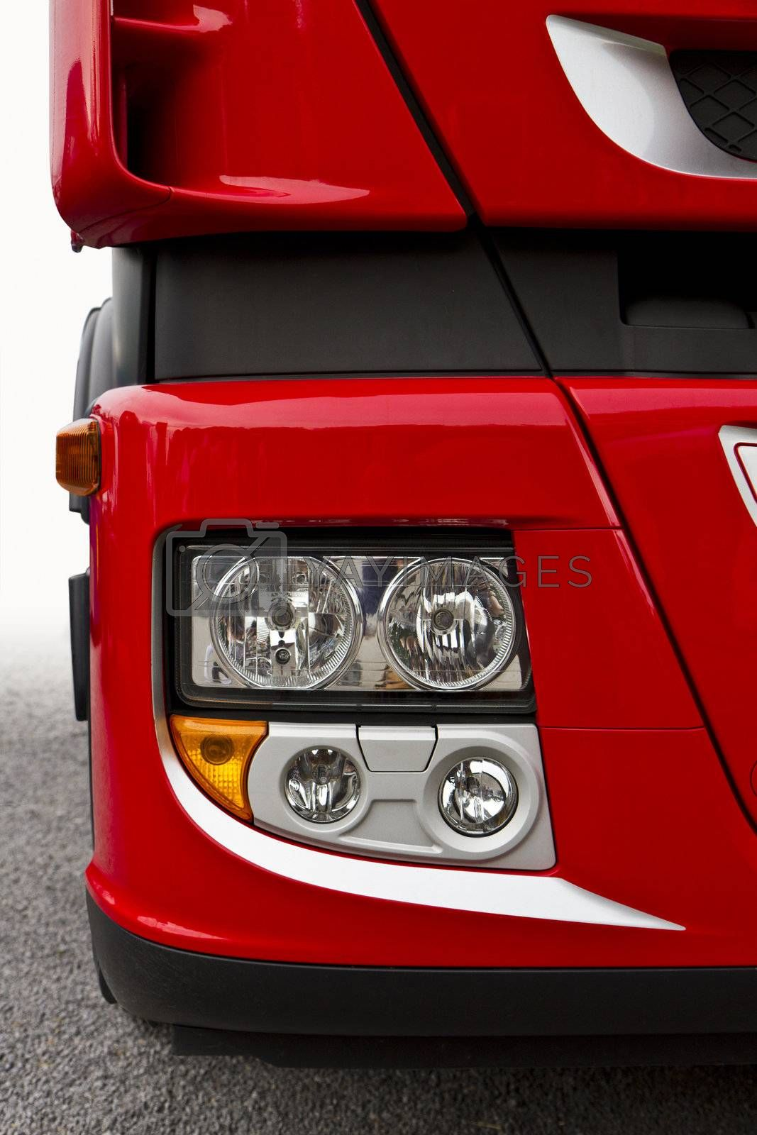 front view of red truck, font light