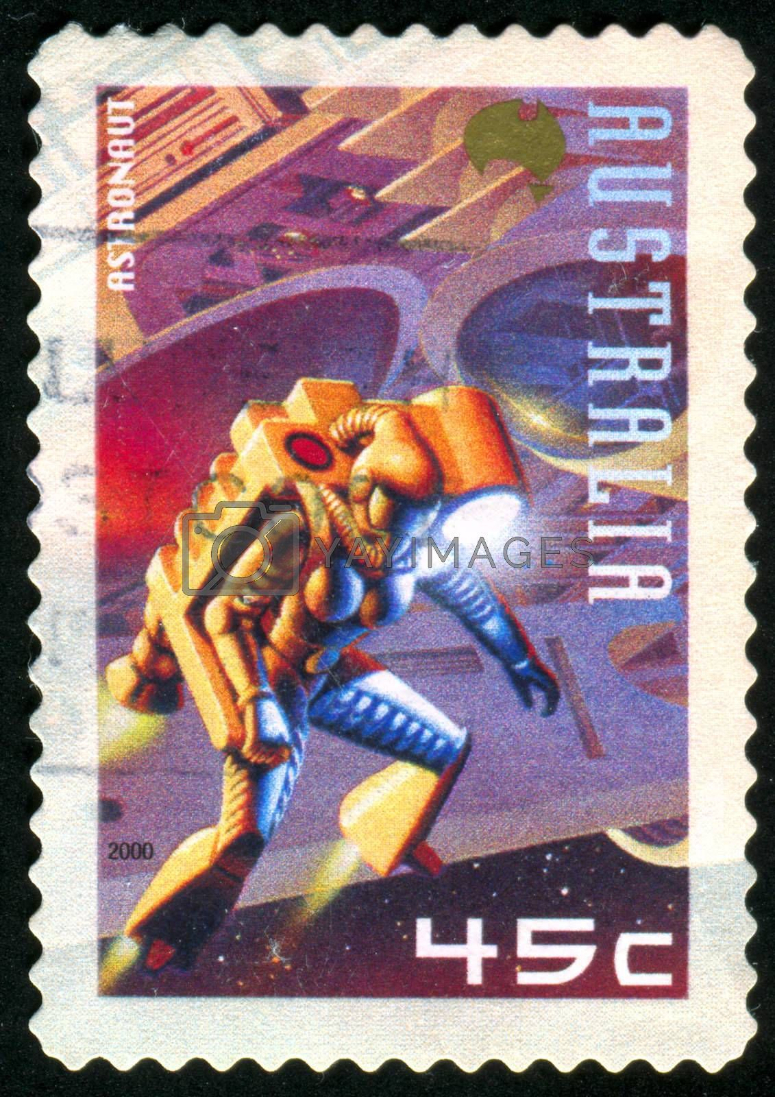 AUSTRALIA - CIRCA 2000: stamp printed by Australia, shows Cosmic landscape. Fantastic, circa 2000