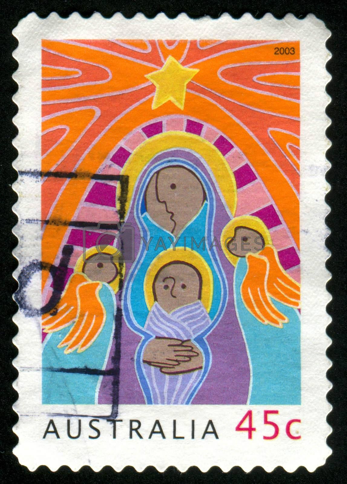 AUSTRALIA - CIRCA 2003: stamp printed by Australia, shows Madonna and Child with Angels, circa 2003