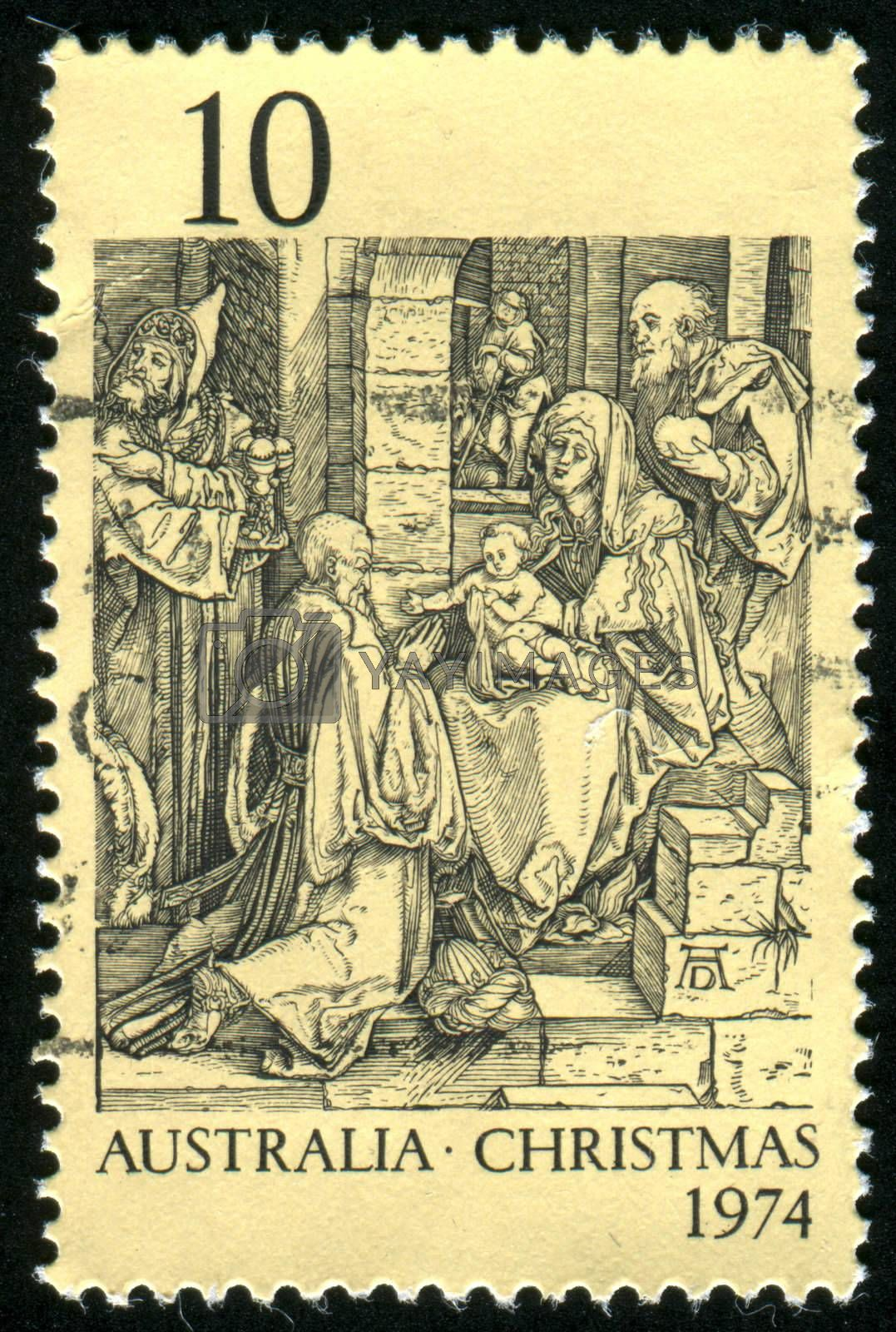 AUSTRALIA - CIRCA 1974: stamp printed by Australia, shows Adoration of the Kings, by Durer, circa 1974