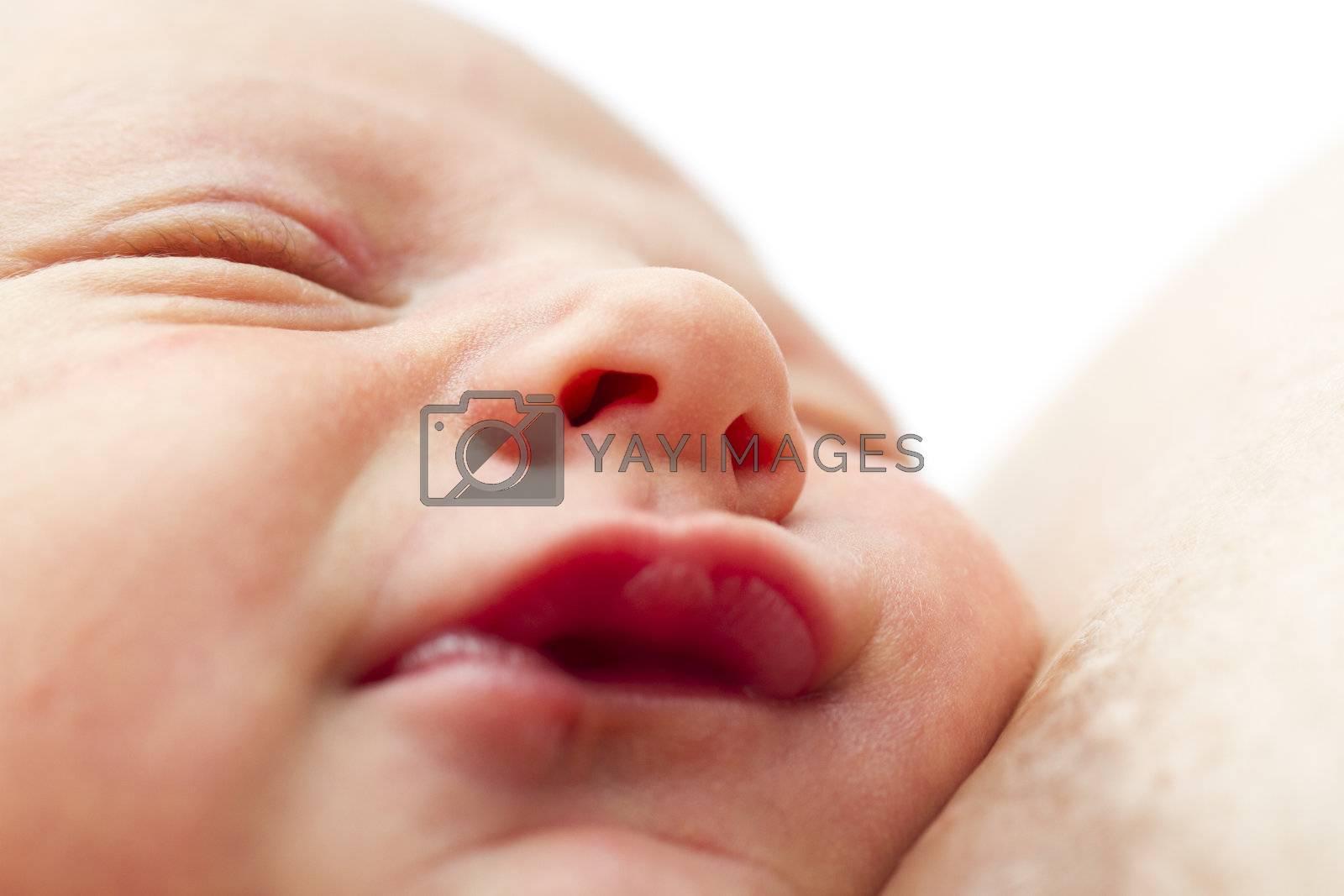 nursling in close up shot. eyes closed, sleeping