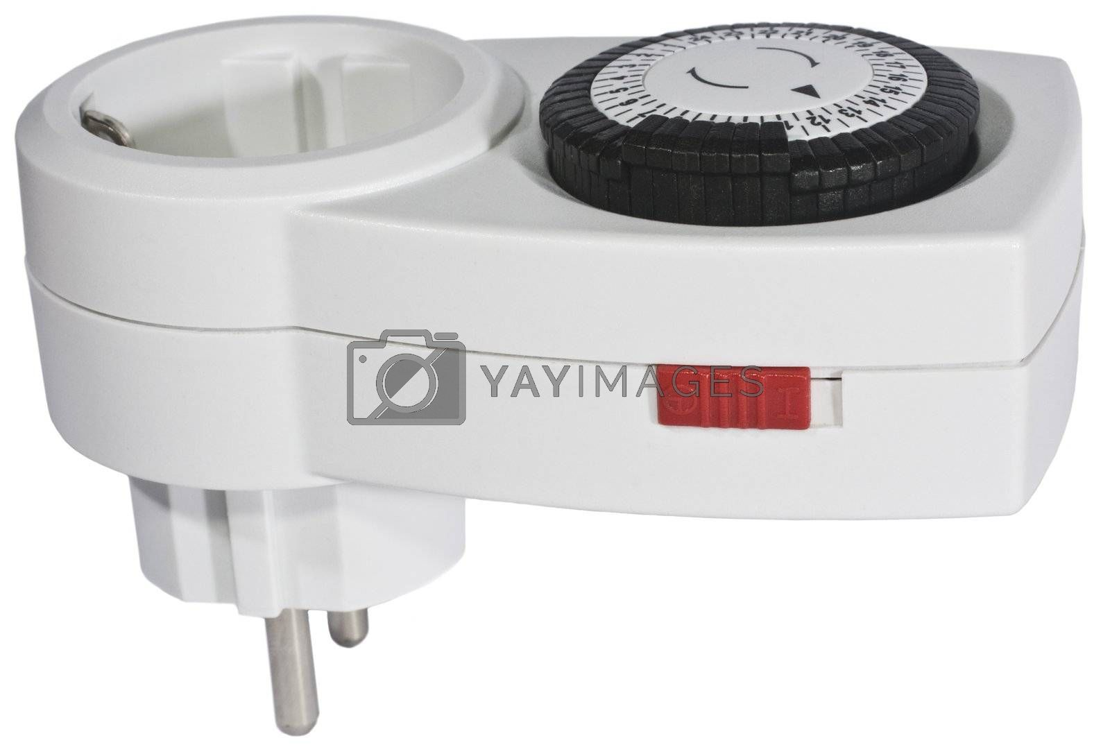white clock timer with red switch and a black time wheel on white background