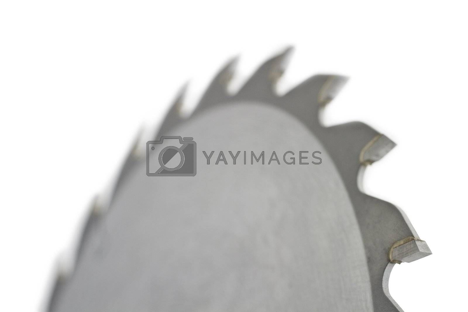 Close up of saw blade on white background and nice blur