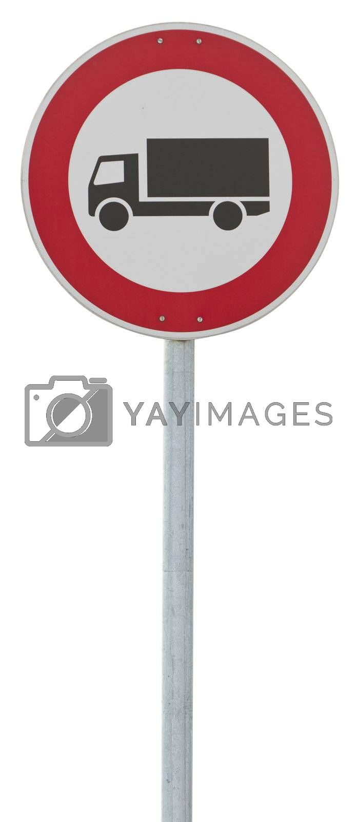 traffic sign: motor lorry. isolated on white with clipping path
