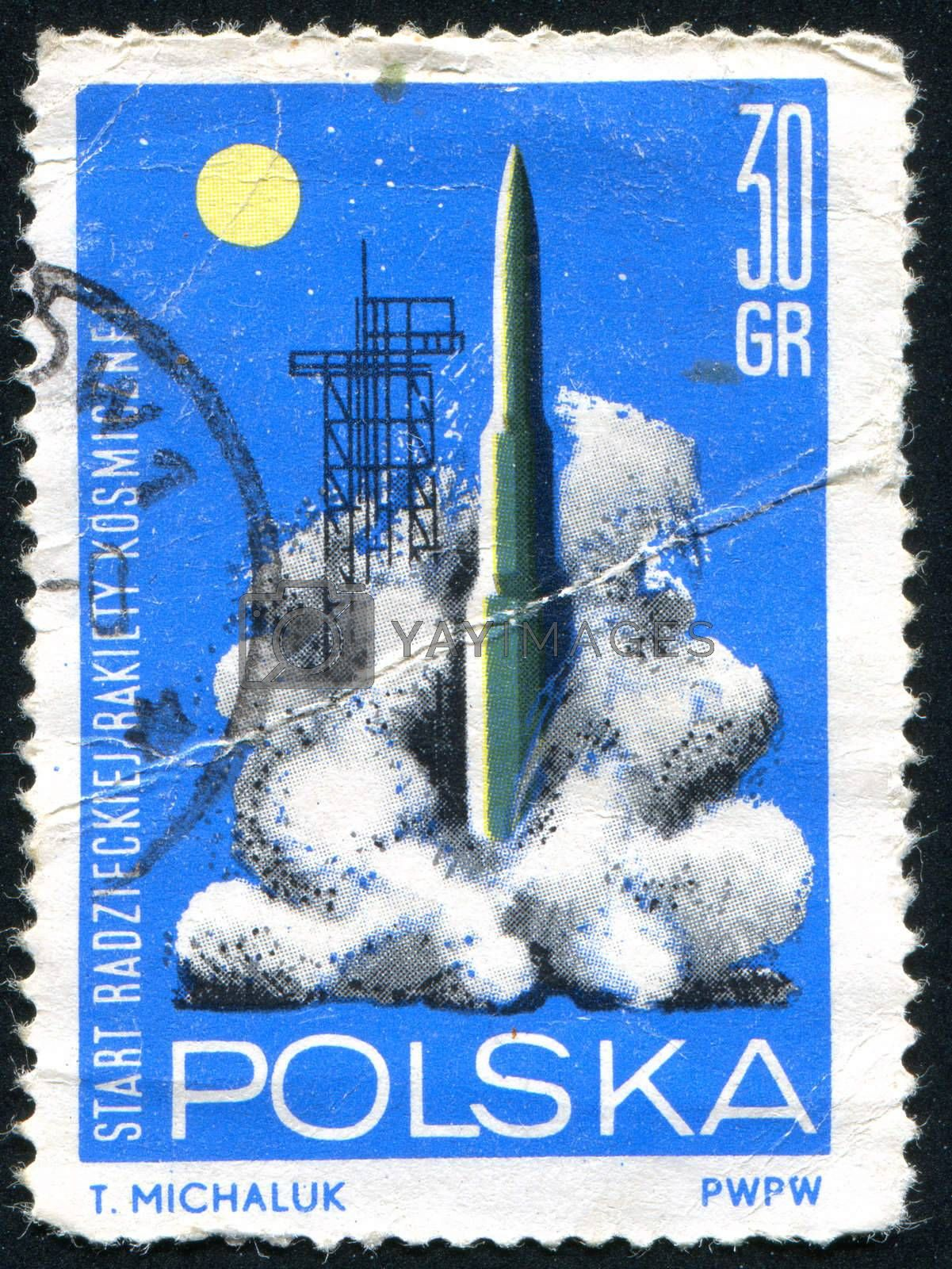 POLAND - CIRCA 1964: stamp printed by Poland, shows Launching of Russian rocket, circa 1964.