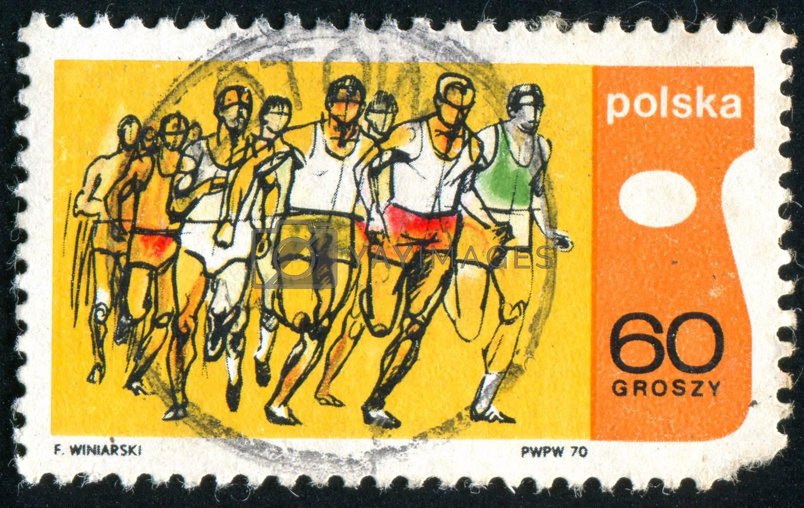 POLAND - CIRCA 1970: stamp printed by Poland, shows runner, circa 1970.