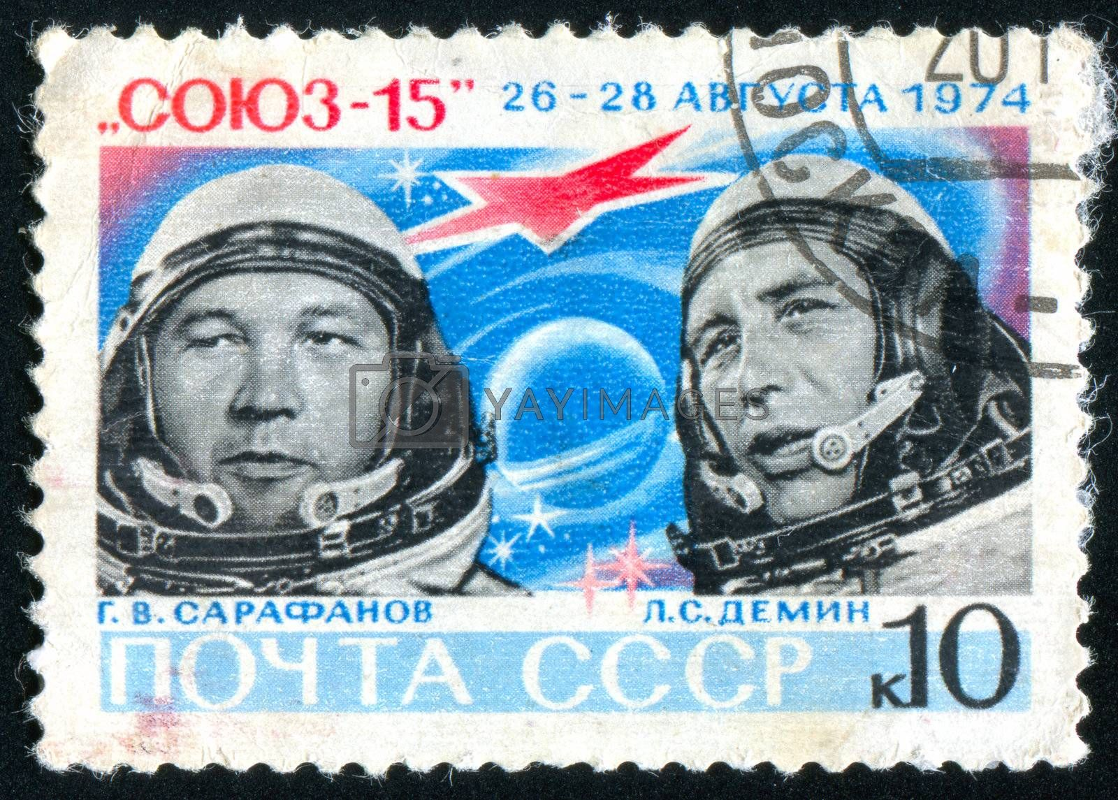 RUSSIA - CIRCA 1974: stamp printed by Russia, shows Cosmonauts G. V. Sarafanov and L. S. Demin, circa 1974.