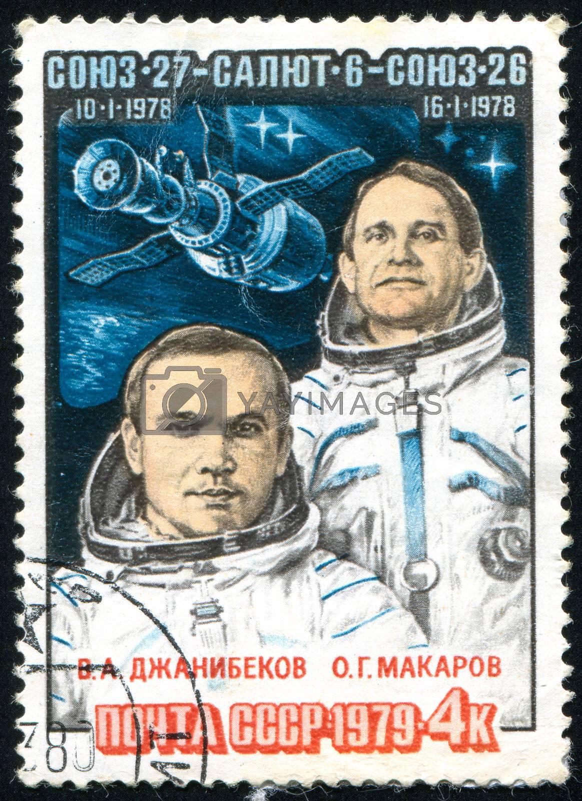 RUSSIA - CIRCA 1979: stamp printed by Russia, shows Djanibekov and Makarov, Spacecraft, circa 1979.