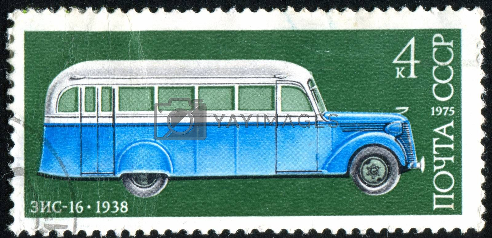 RUSSIA - CIRCA 1975: stamp printed by Russia, shows ancient bus, circa 1975.
