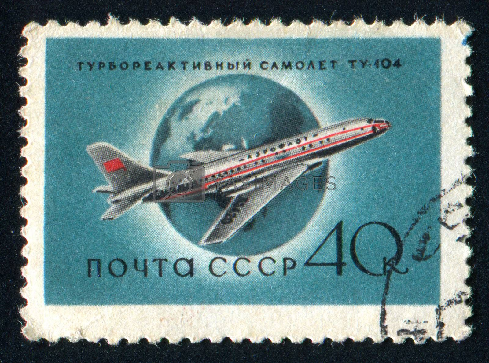RUSSIA - CIRCA 1958: stamp printed by Russia, shows Airliner, circa 1958.