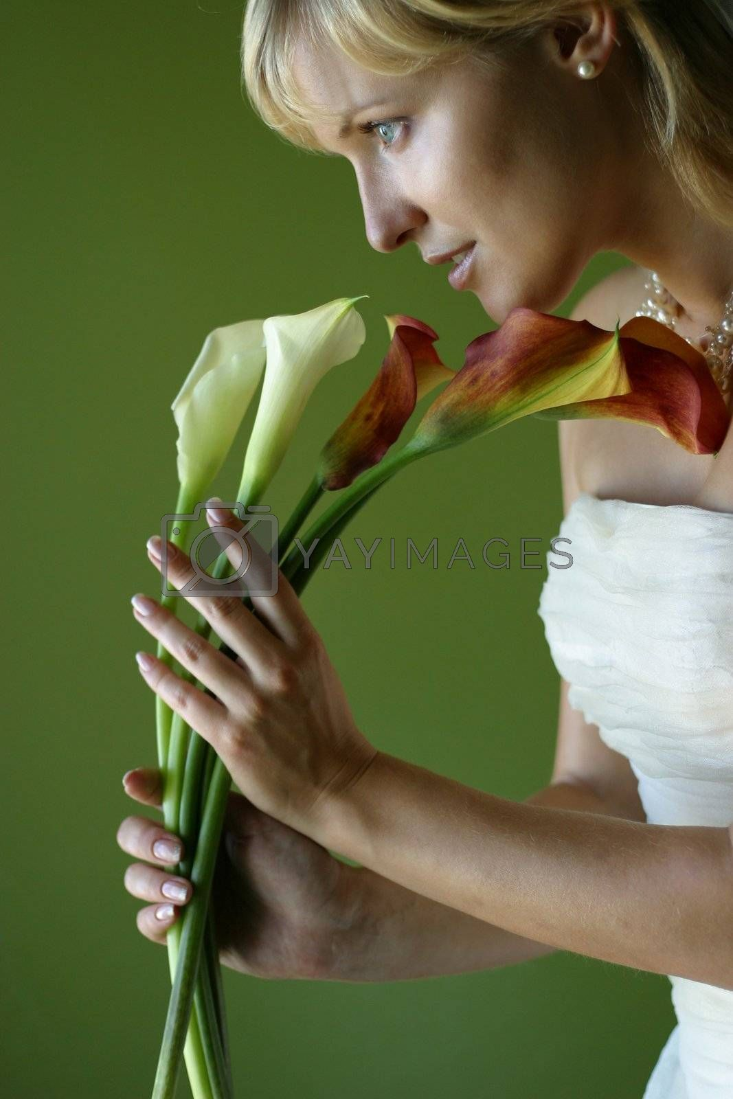 Five callas in hands of the beautiful bride on a green background