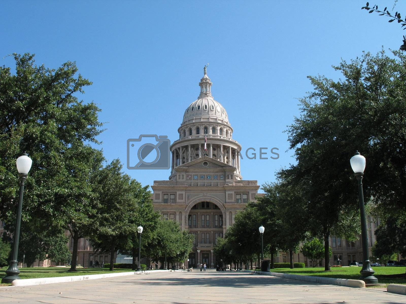 The south walkway and entrance to the Texas capitol building in Austin.