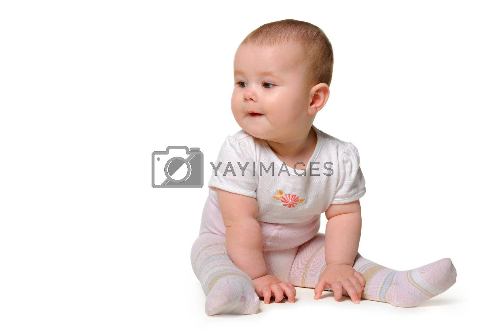The baby. Age of 8 months. It is isolated on a white background