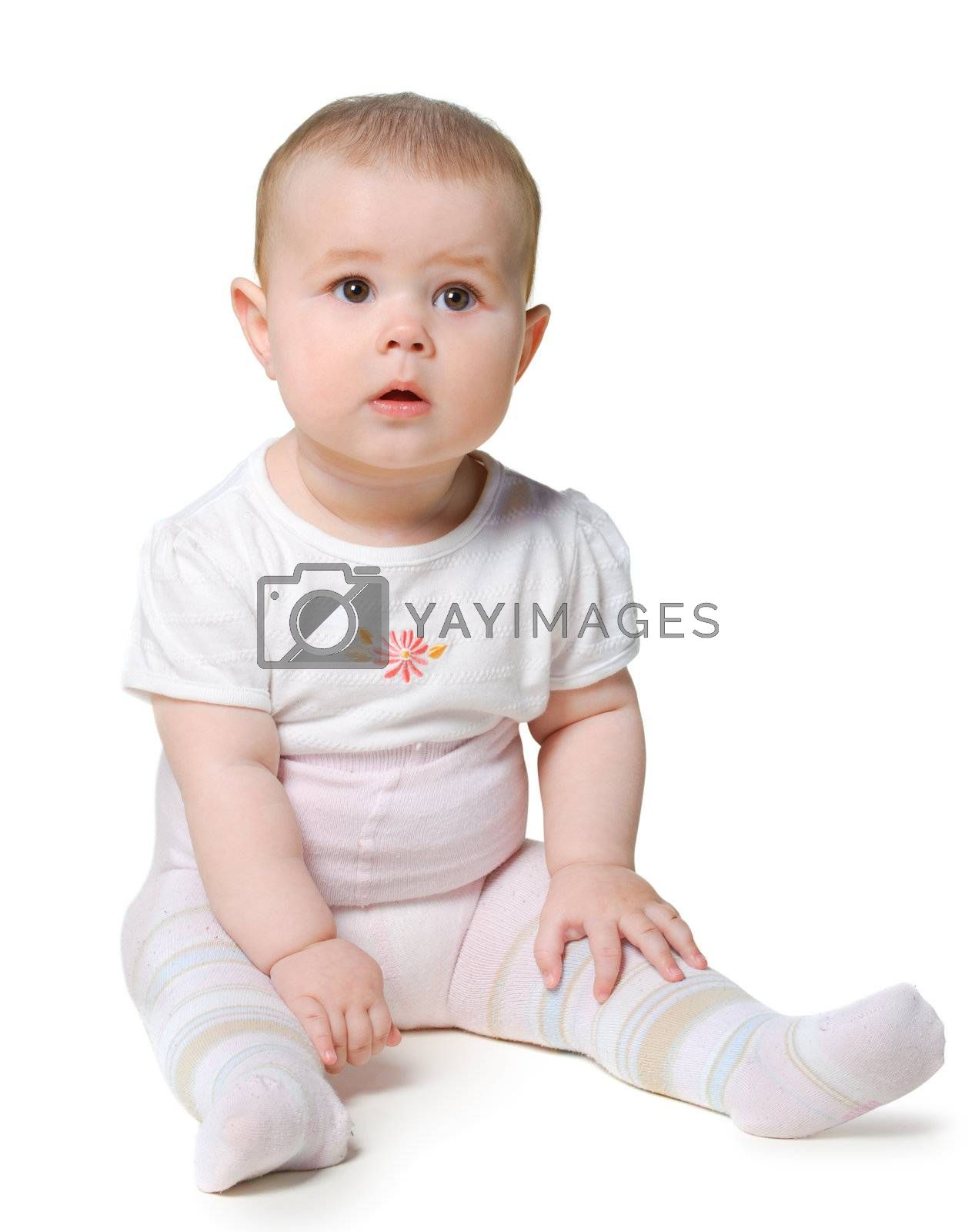 Baby. Isolated little girl. 8 month. Isolated on white