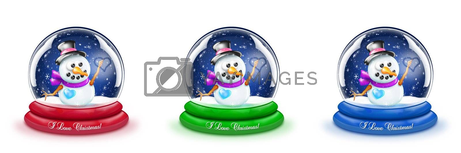 A cartoon Christmas snowman snow globe with three different base colors.