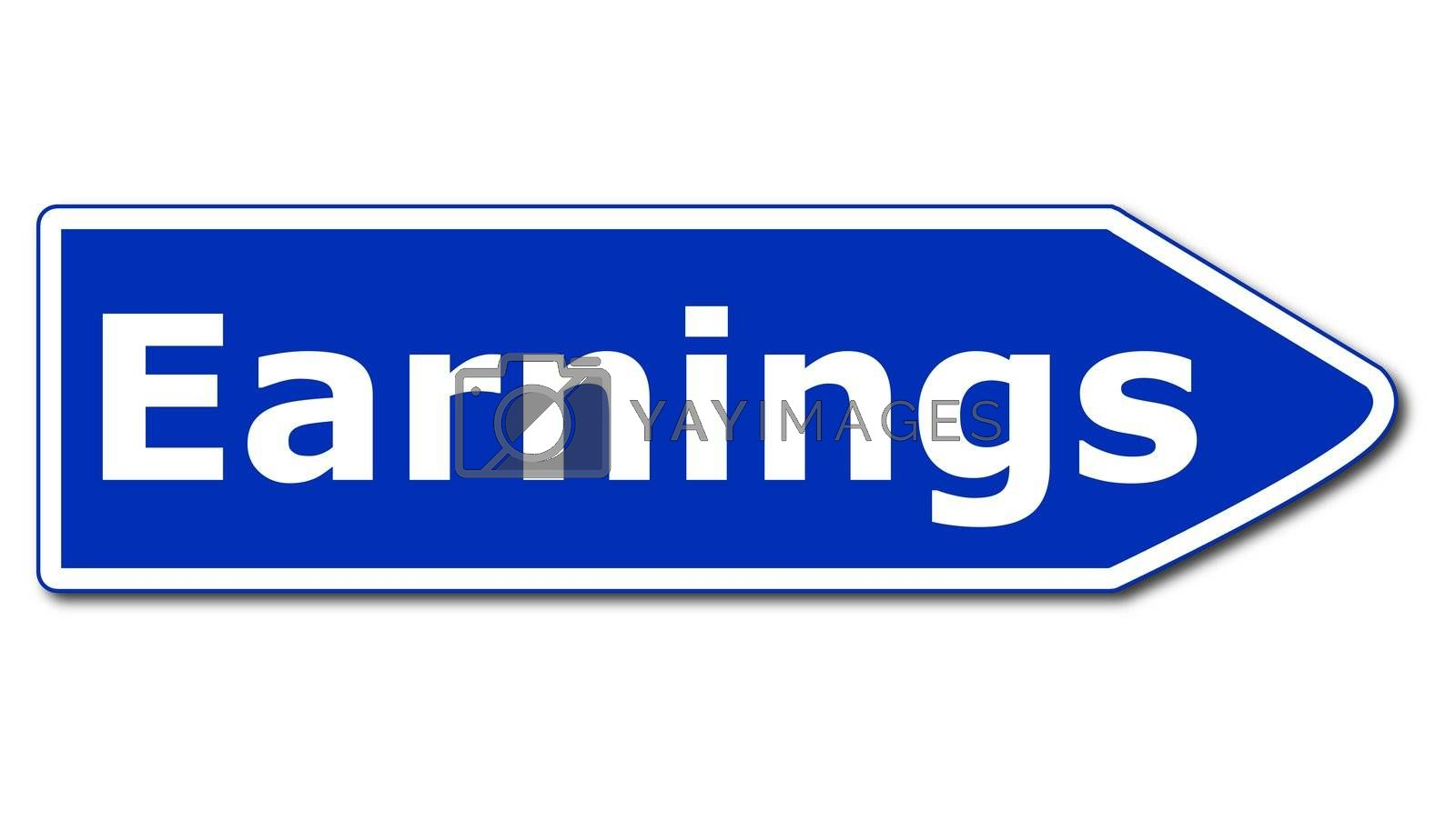 earnings or profit and loss sign isolated on white background
