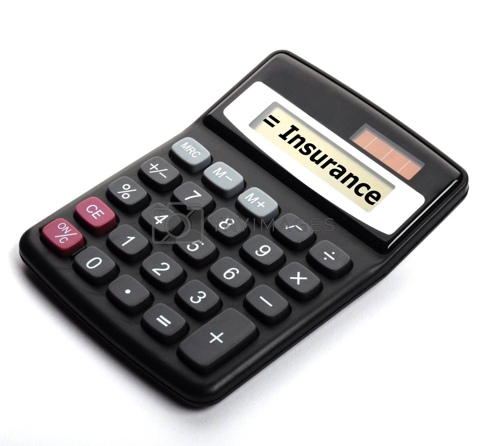 insurance or risk concept with calculator showing financial security