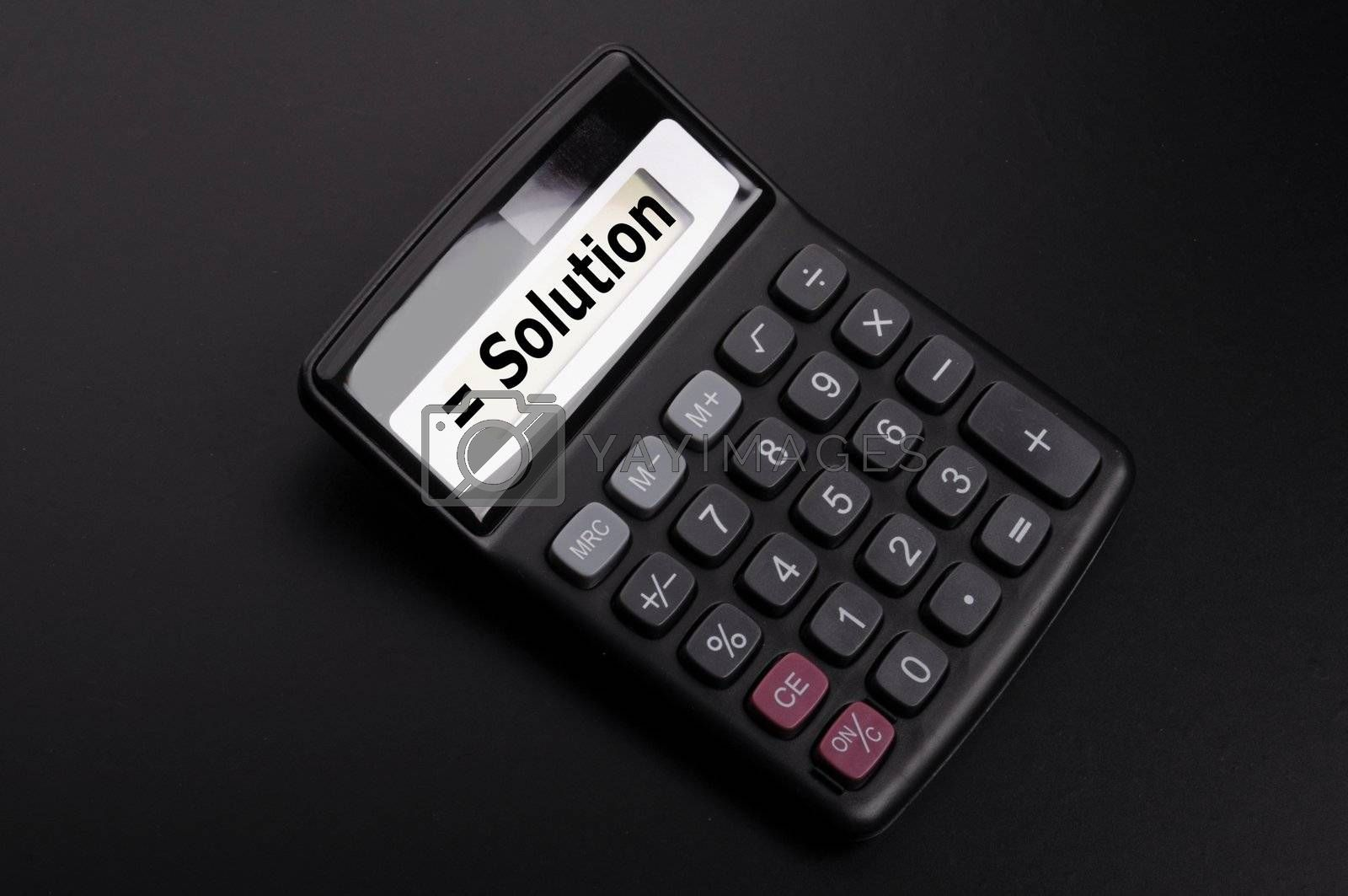 solution or problem business concept with calculator
