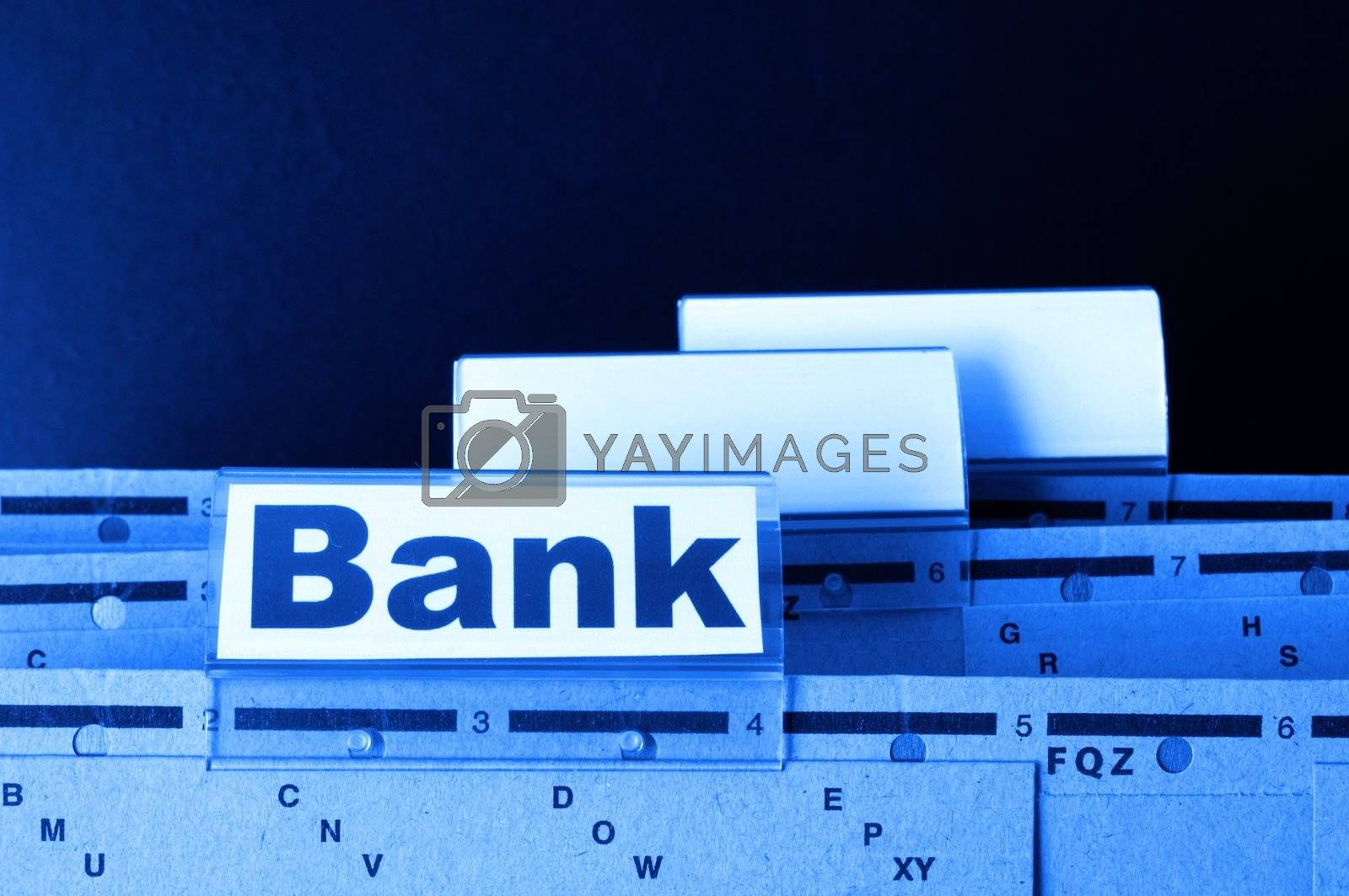 bank or banking word on tab folder showing finance or financial success concept