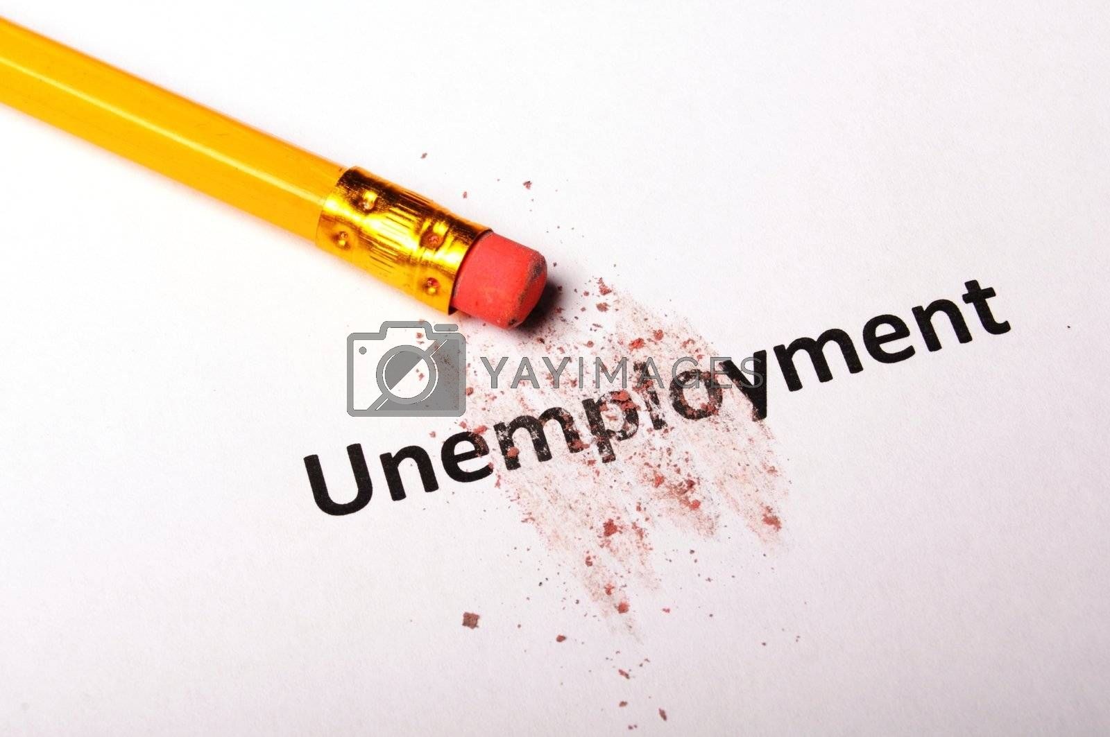 unemployment word and eraser showing job or work concept