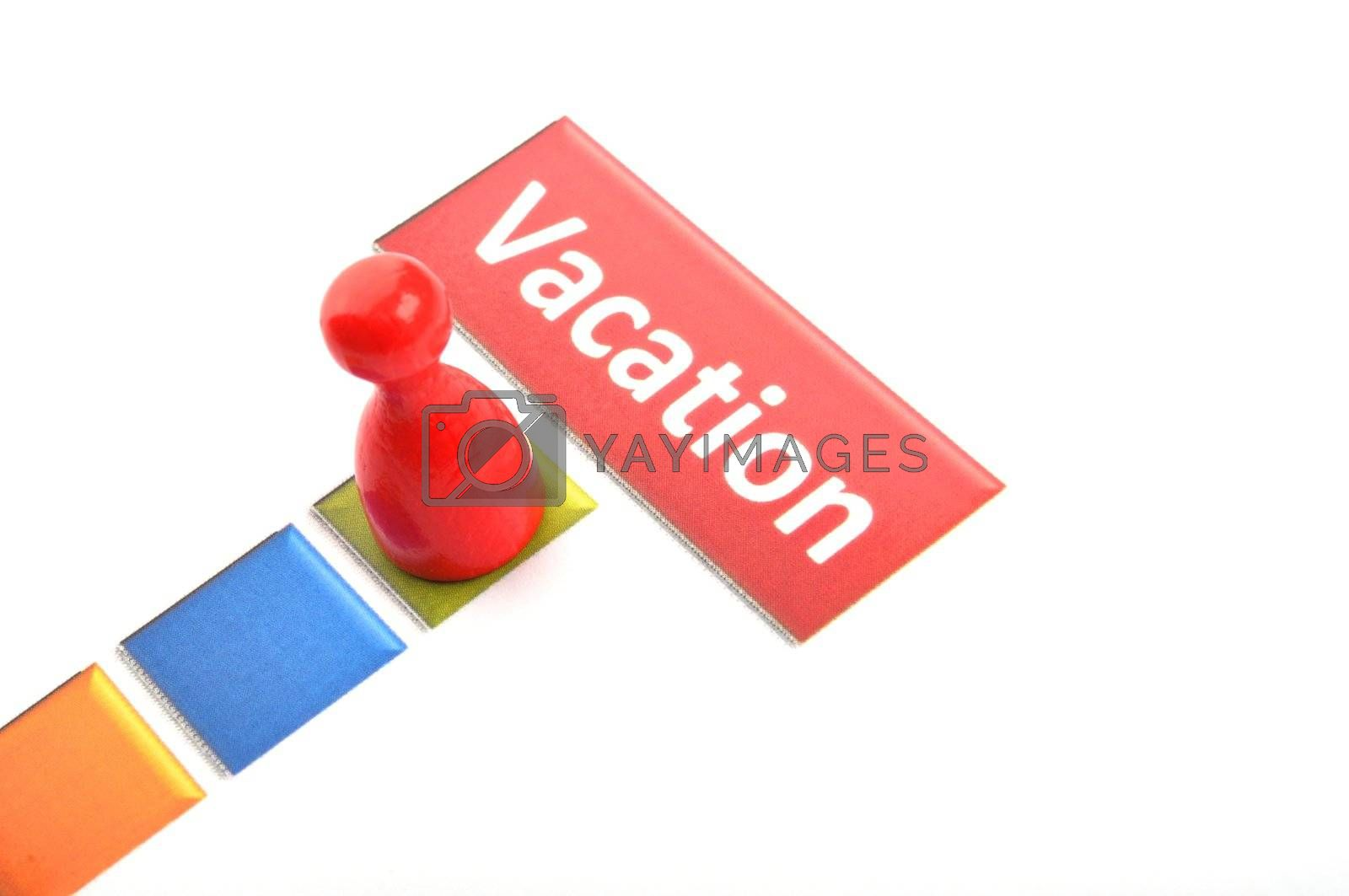 vacation holiday or travel concept with word and pawn