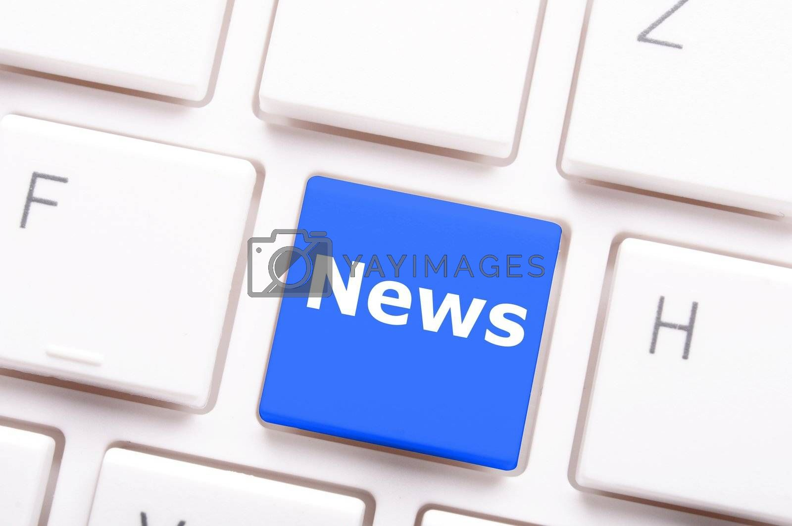 news or newsletter concept with key or keyboard from computer