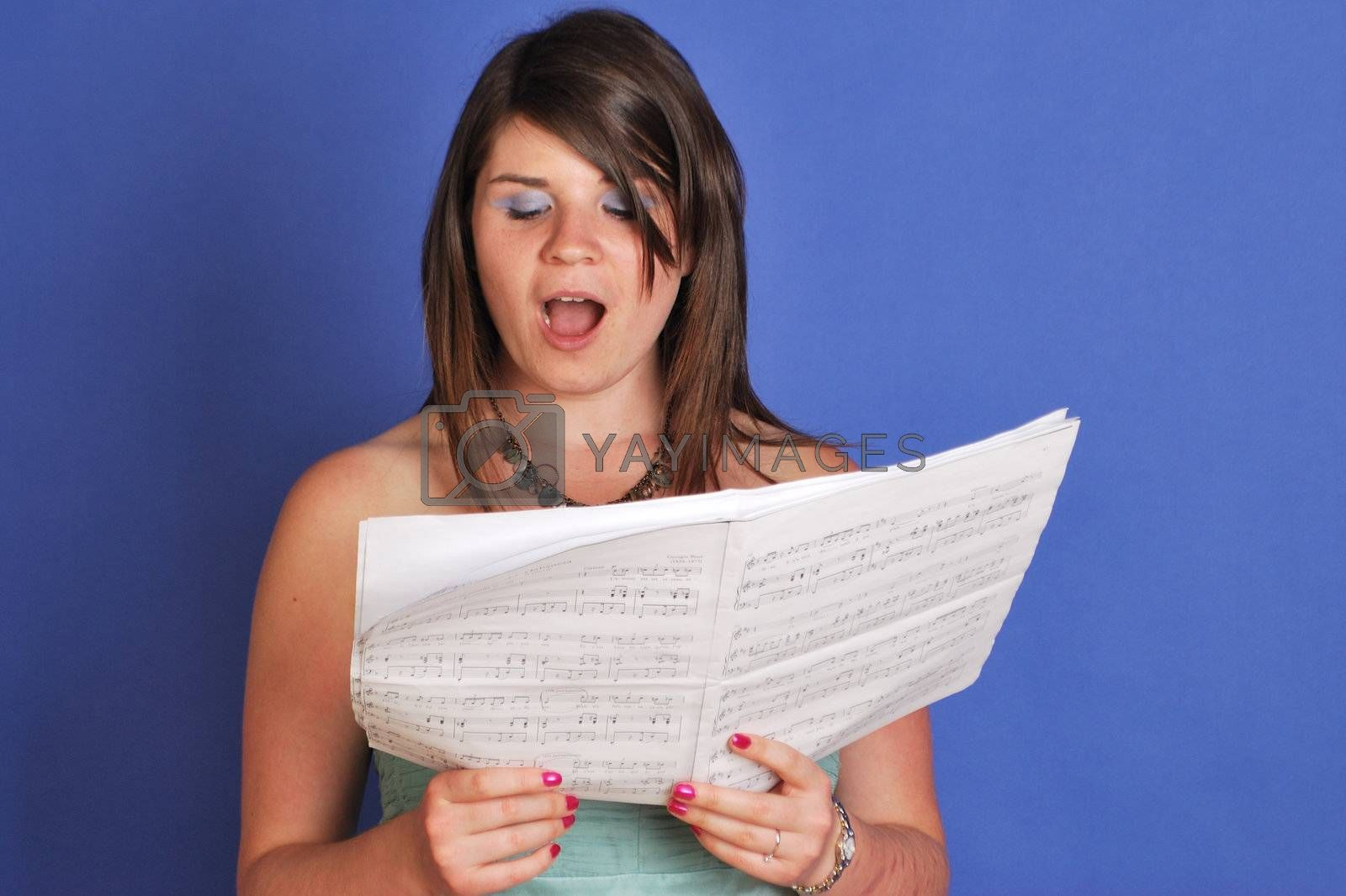 pretty girl singing in choir