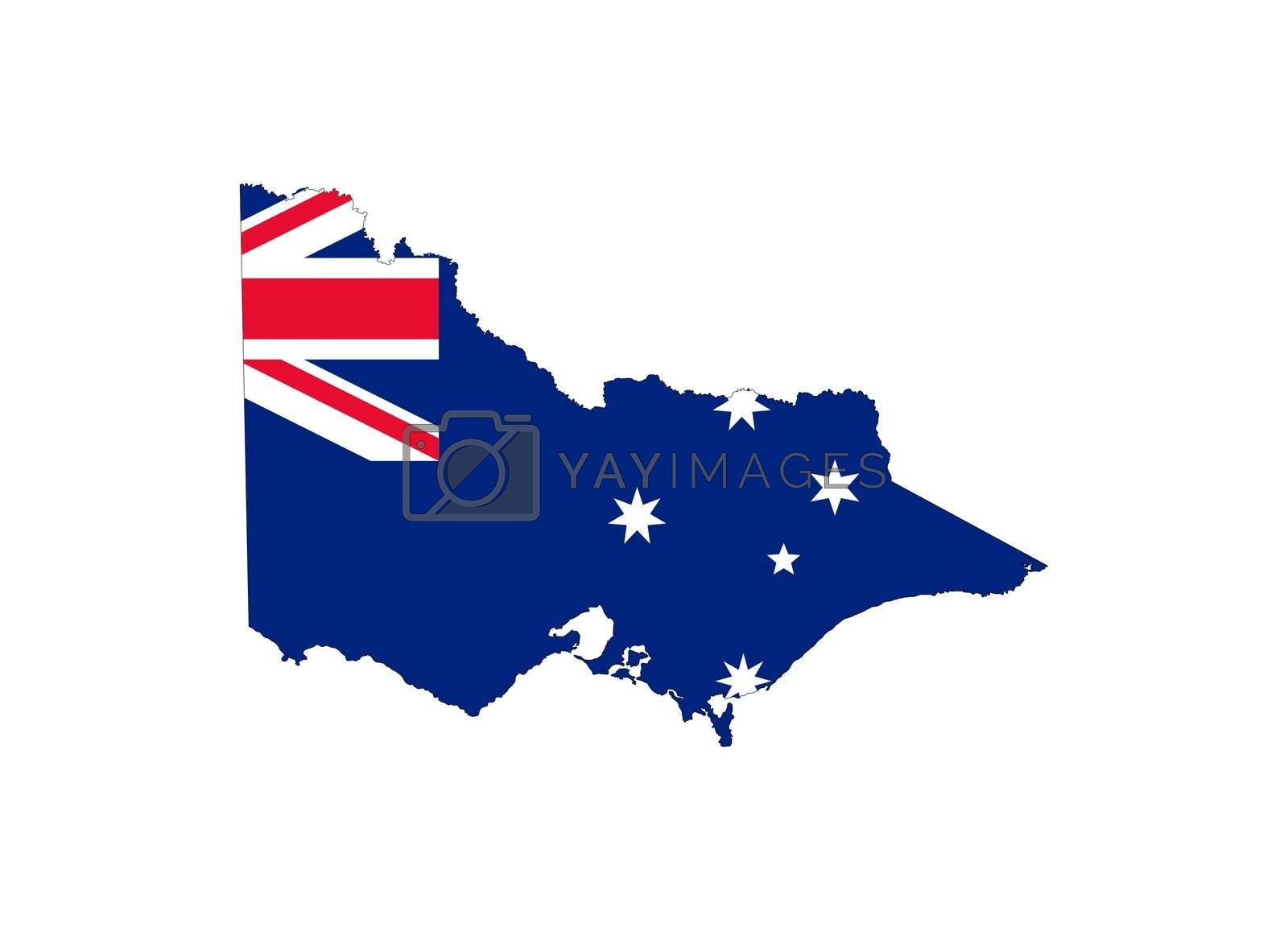 State flag of Victoria, Australia on map; isolated on white background.