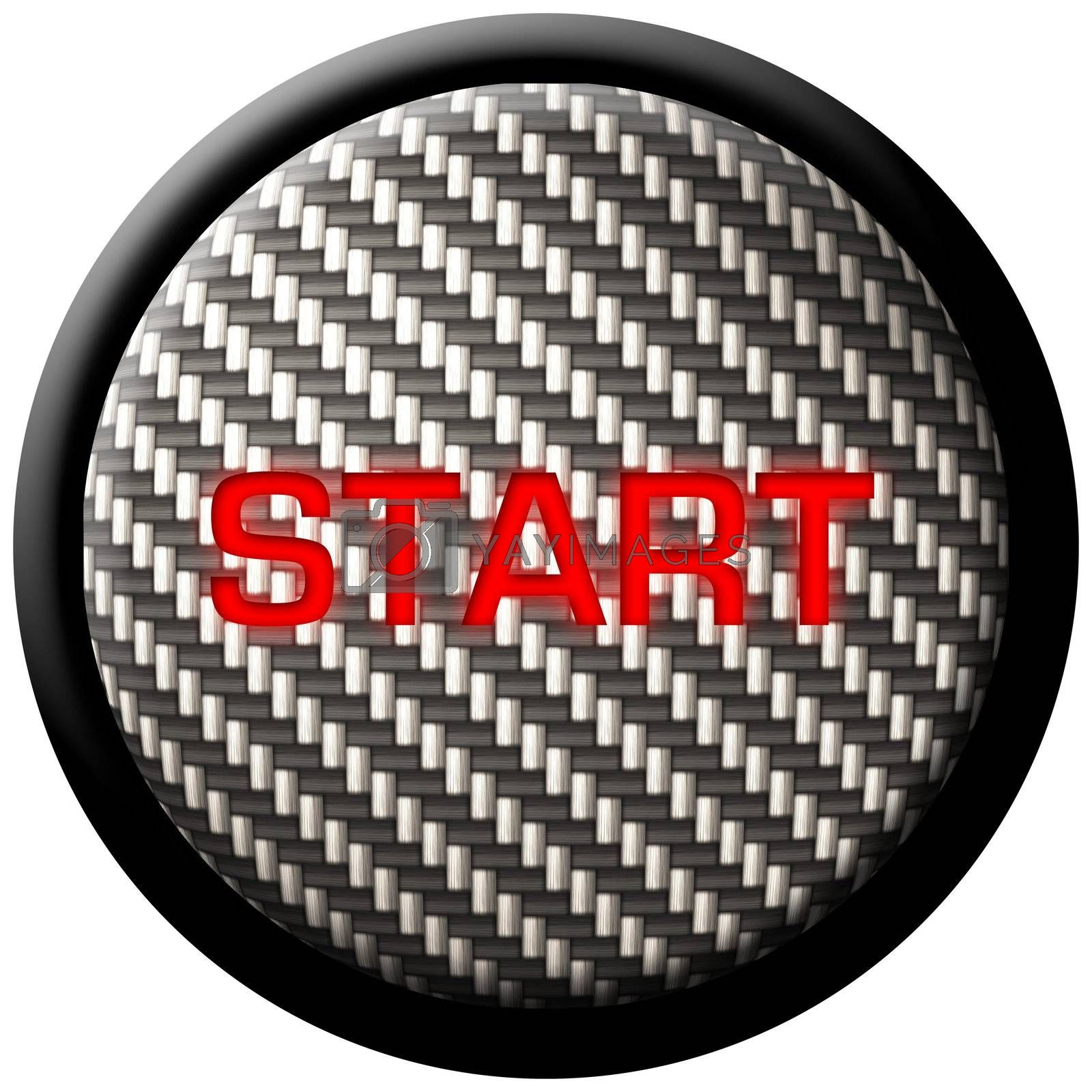 """A carbon fiber start button with the word """"start"""" glowing in red.  These types of buttons have become very popular in custom and high-tech automobiles."""