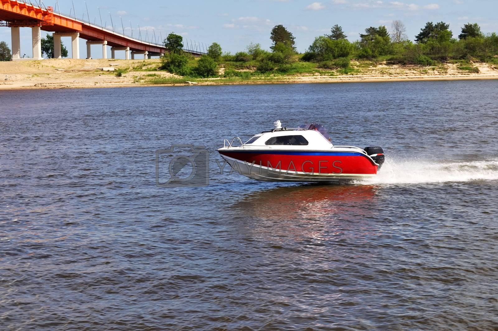 Speed boat on Oka river near Murom, Russia