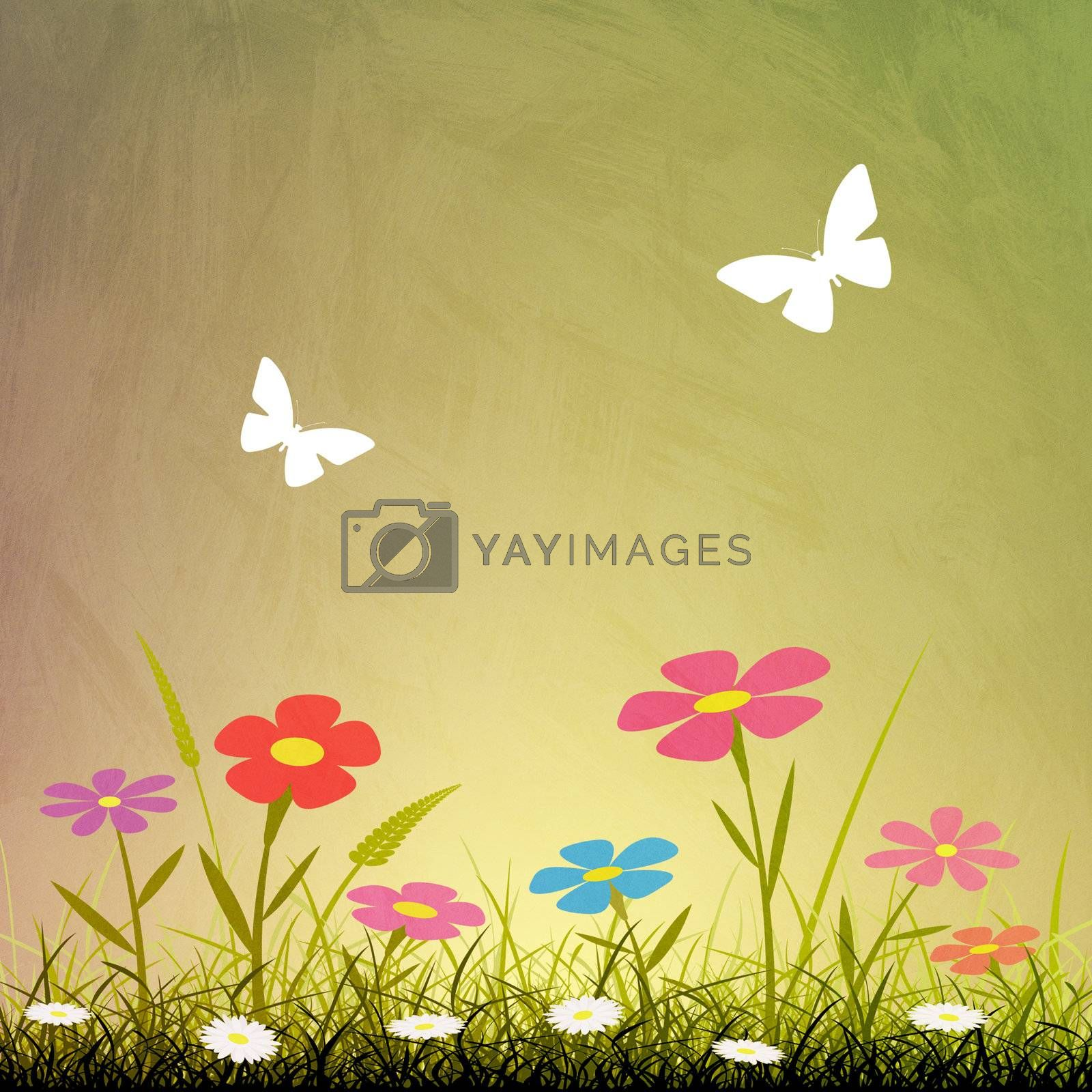 A Simple Grunge Background with Flowers