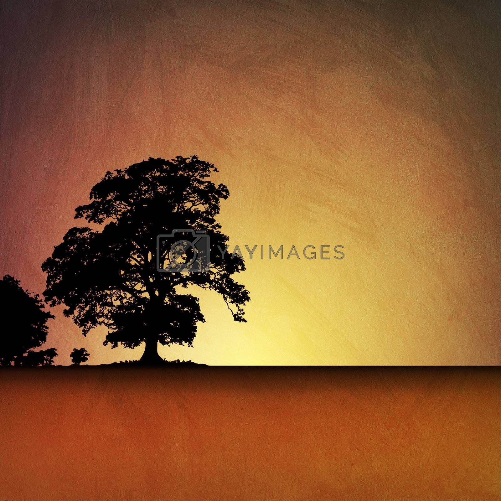 An Artistic Vintage Grunge Illustration Landscape with a Big Tree