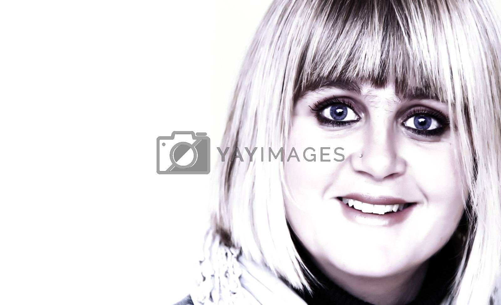 high key image of a pretty woman looking with big eyes and copyspace for your text