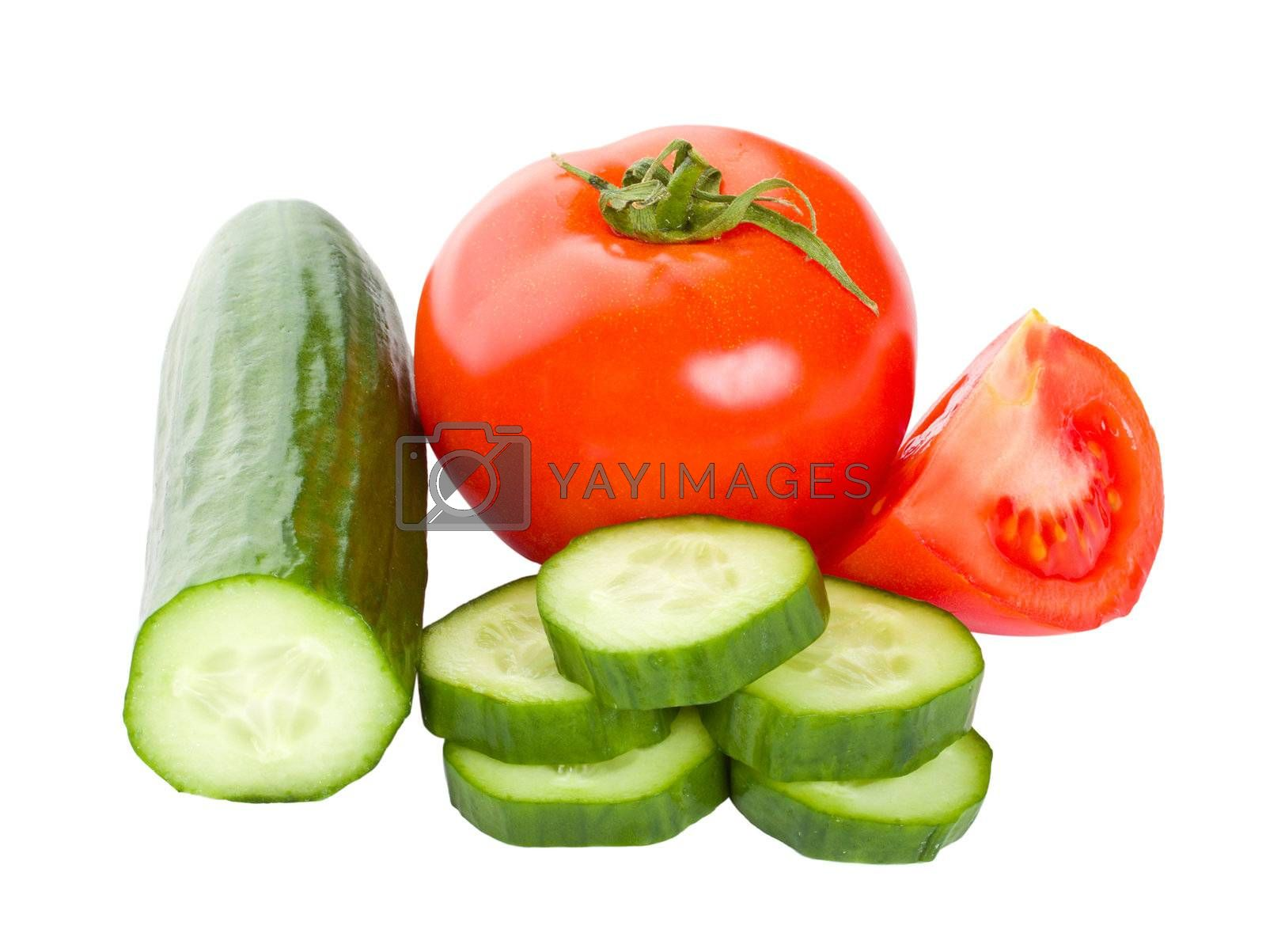 close-up cucumbers and tomatoes, isolated on white