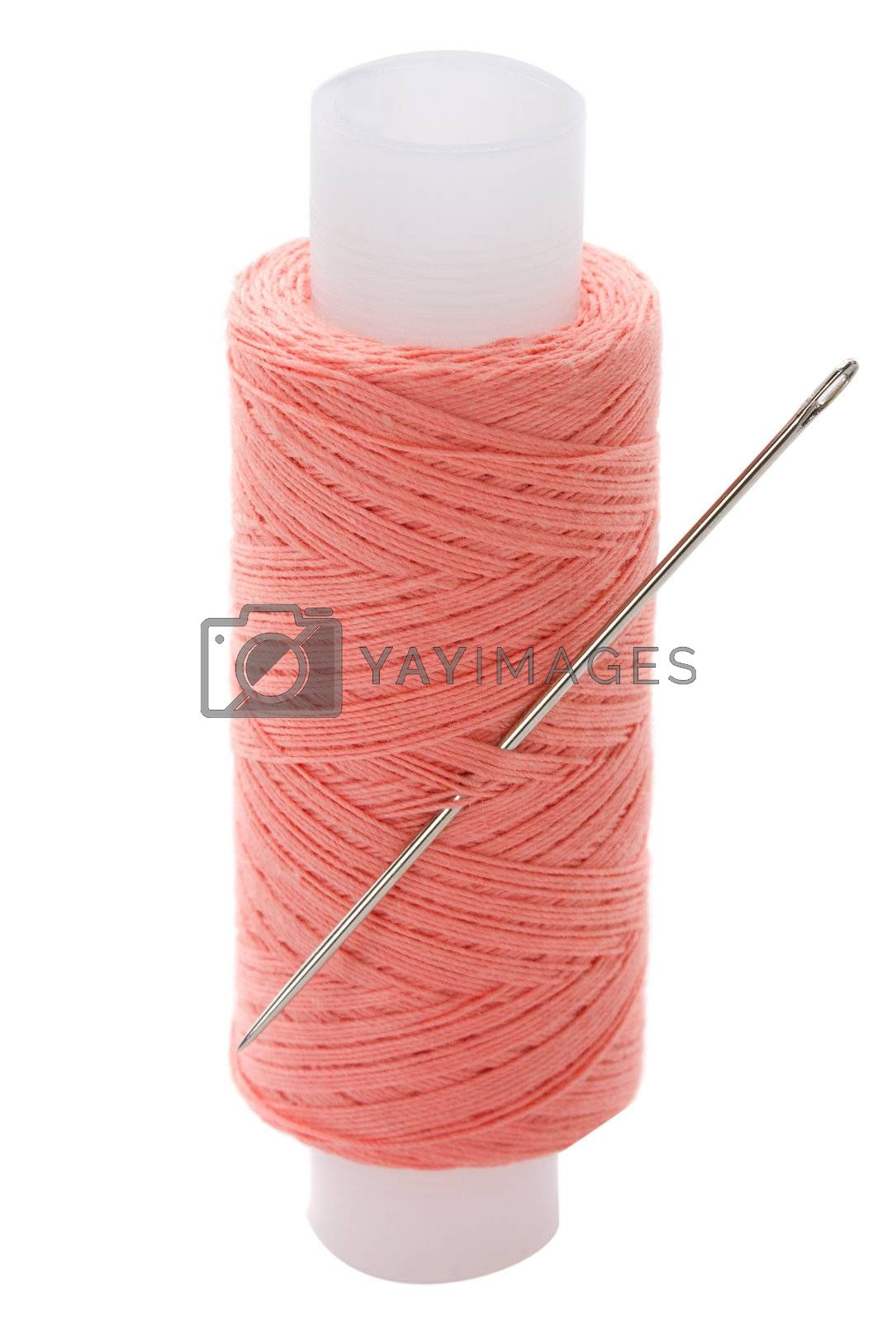 close-up spool of thread, isolated on white