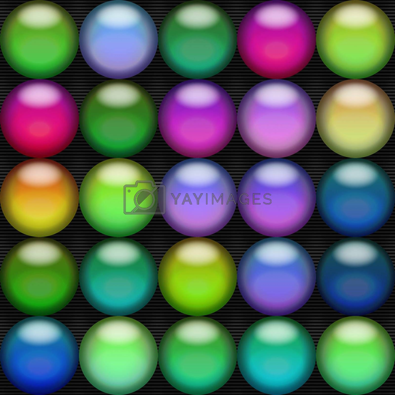 A bunch of colorful 3d spheres over a back background.  They could pass for jelly beans, buttons, or even L.E.D. bulbs.  This texture also tiles seamlessly as a pattern.
