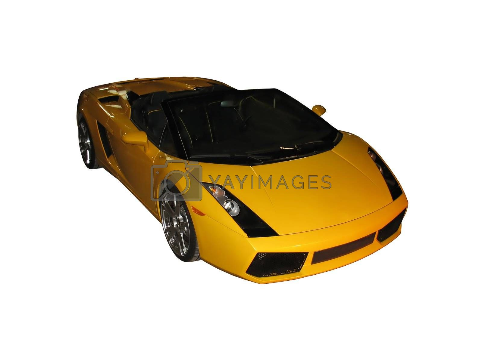 A gorgeous, yellow sportscar isolated over a white background.
