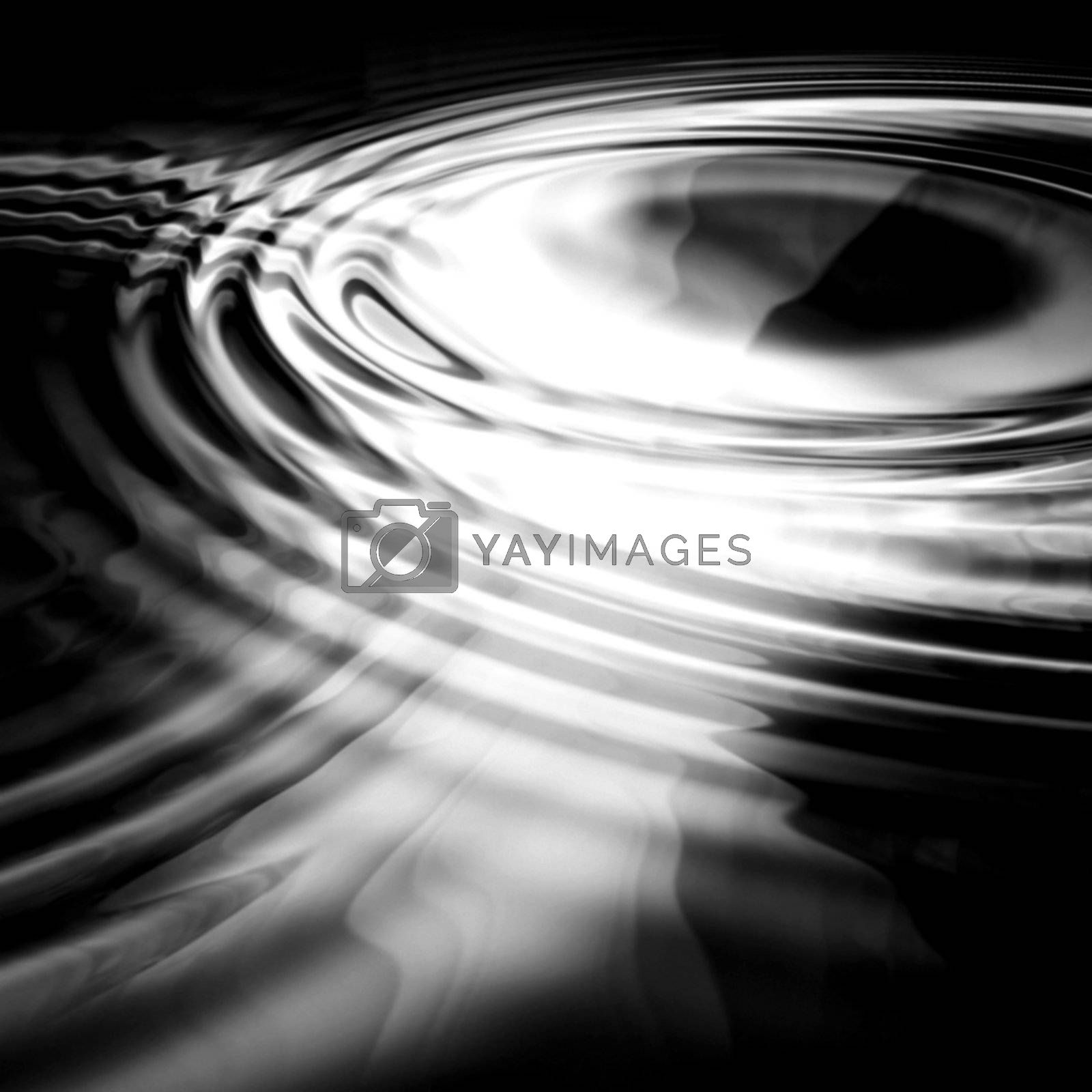 black and white 3d rippled water - eerie scene -