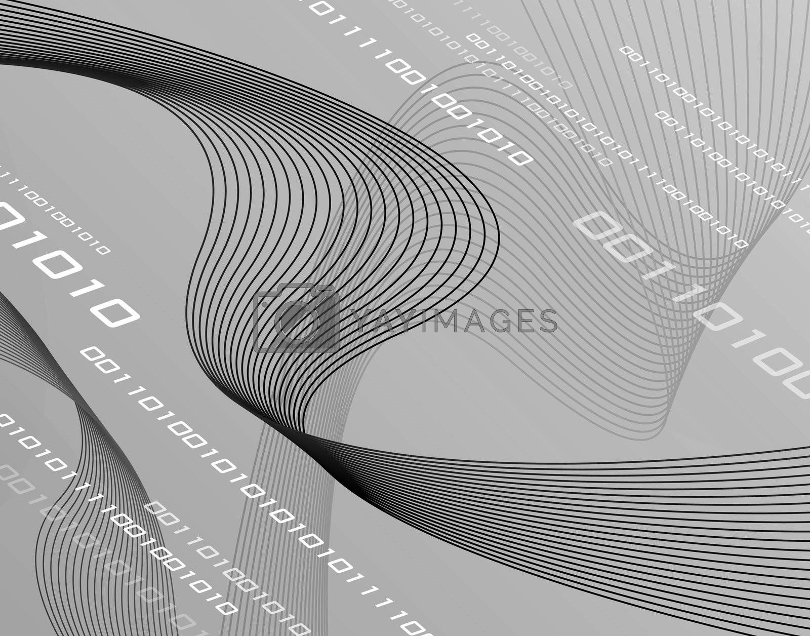 High-tech 3d background with curvy wire-frame type lines that are moving like flowing ribons.