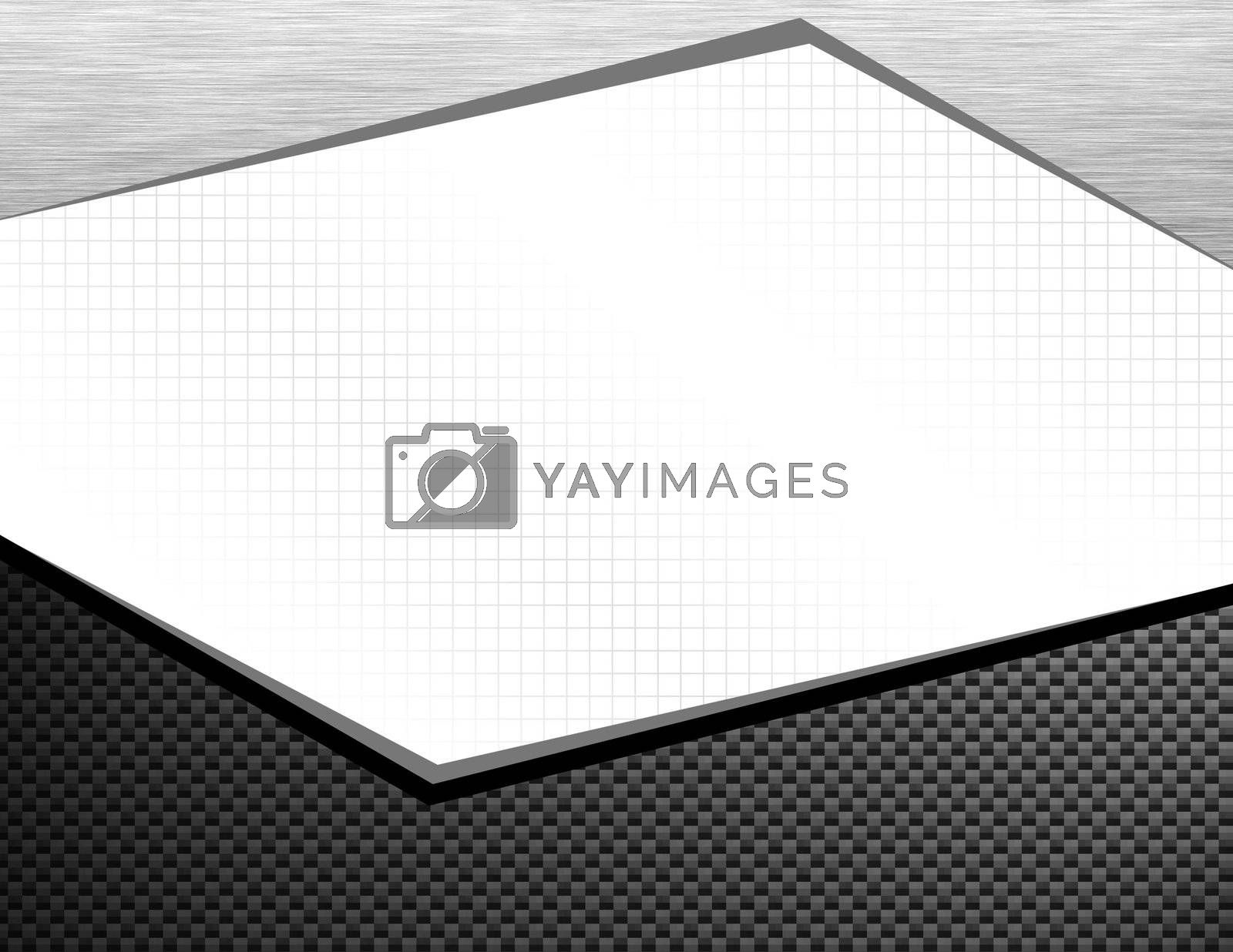 A page layout or frame featuring carbon fiber and brushed aluminum - it includes the clipping path to remove everything in the center white area.