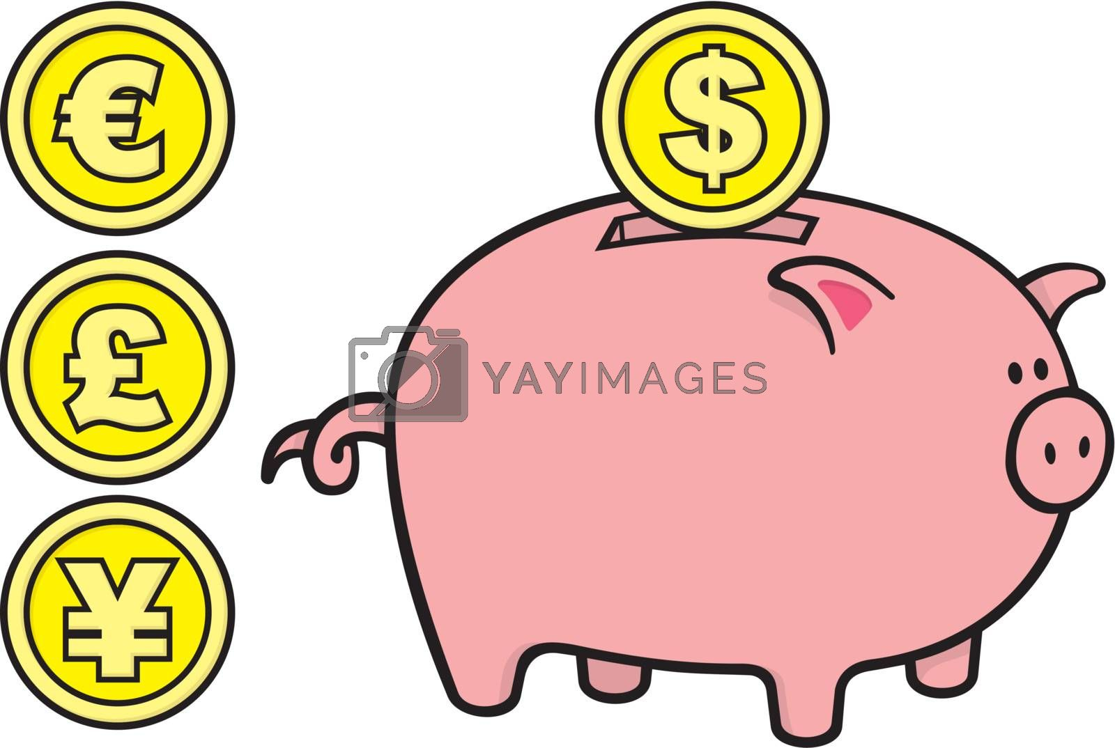 Royalty free image of Piggy bank with coins by sifis