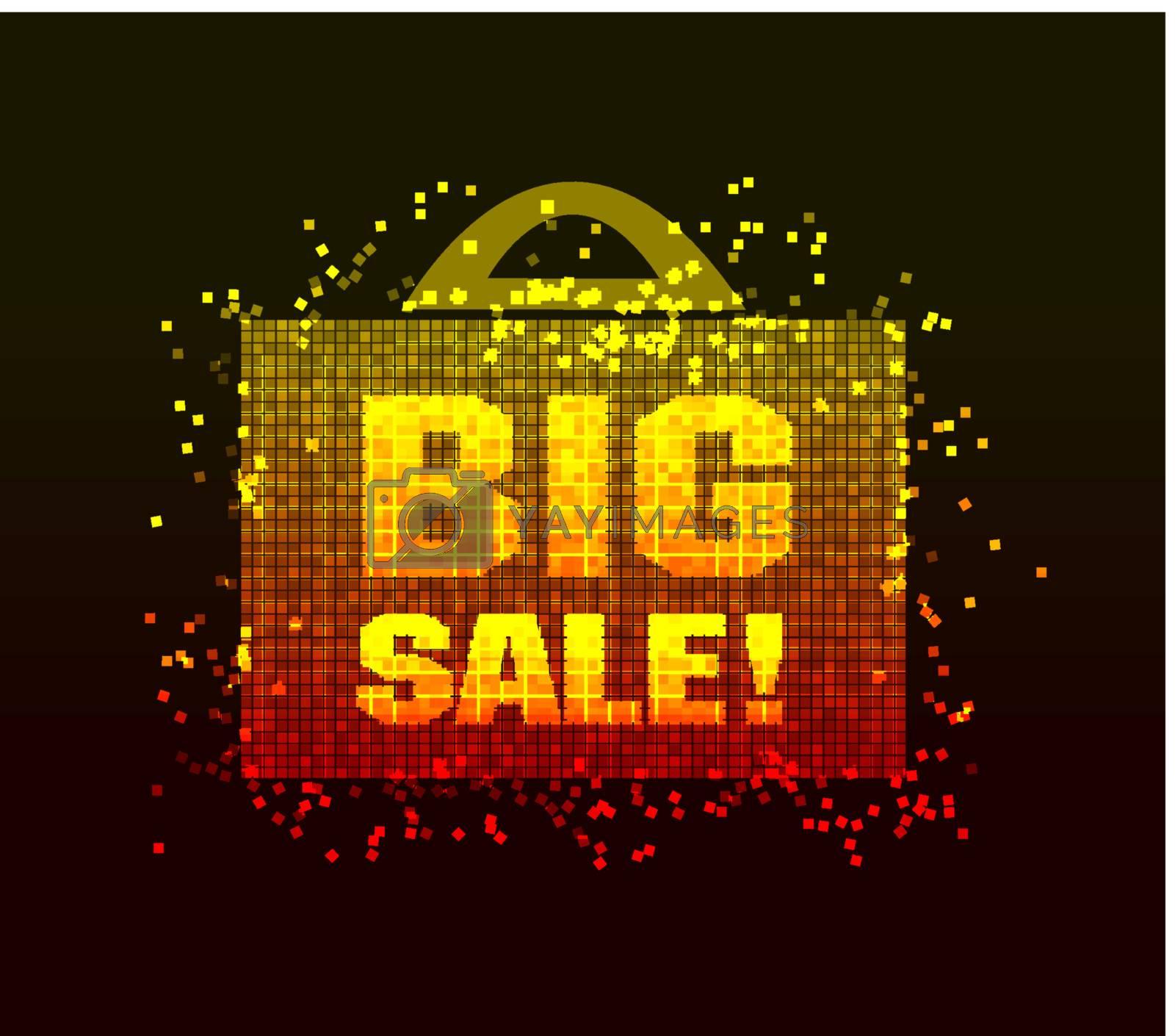 big sale illustration with bag on black background