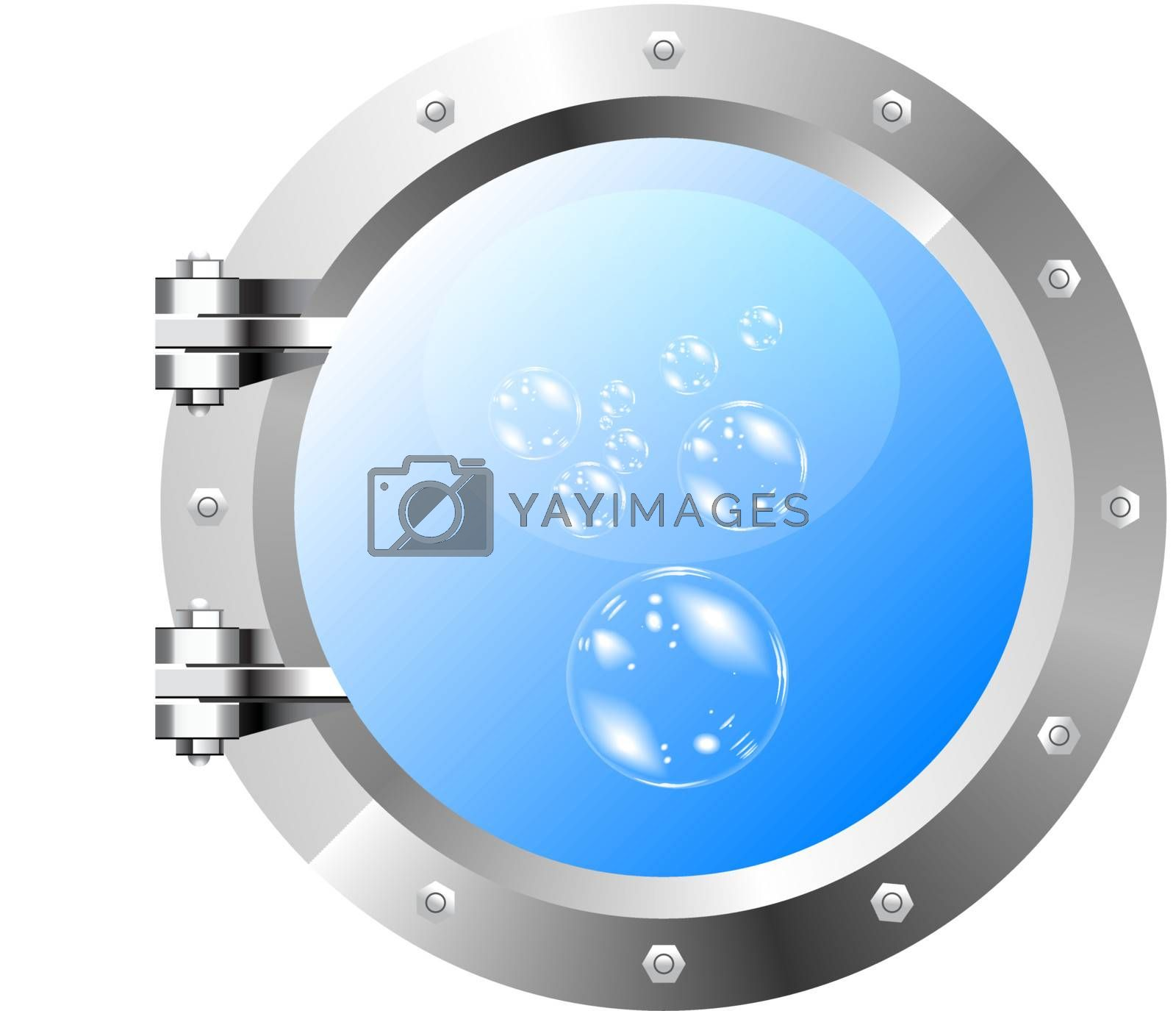Vector image of the ship's porthole on a white wall