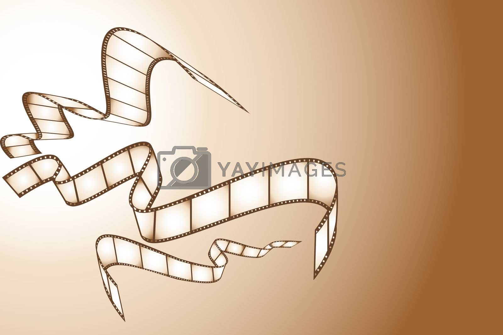illustration of movie reel on abstract background