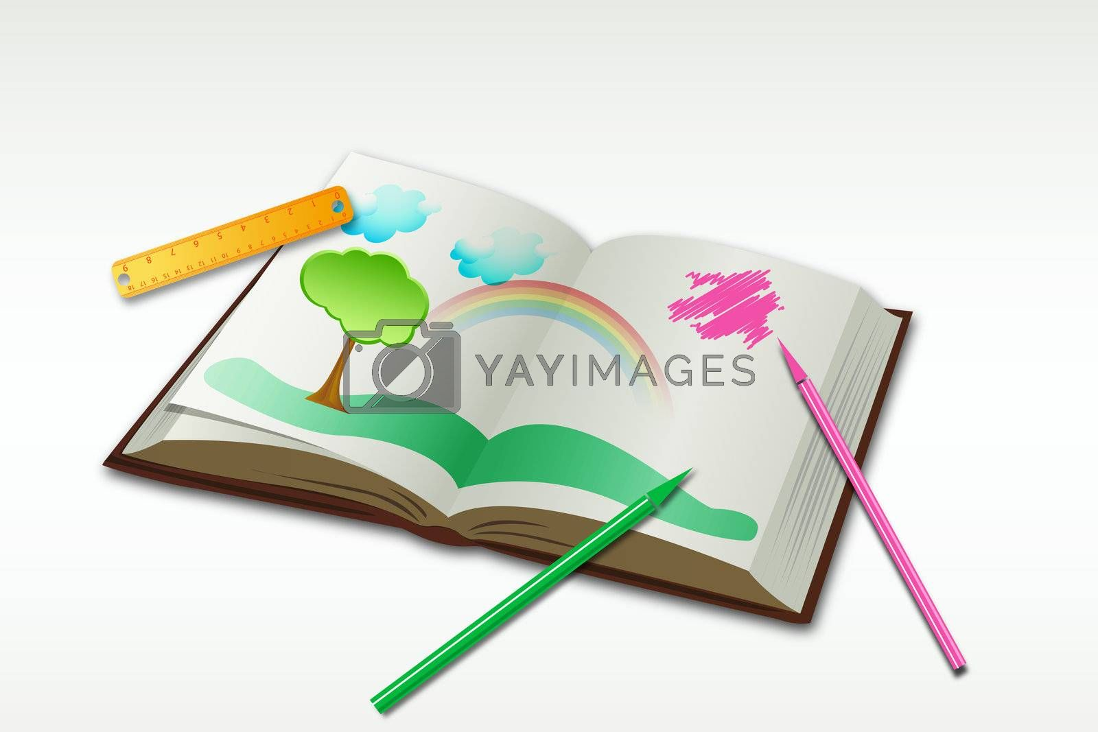 illustration of drawing book with sketch and natural view on white background