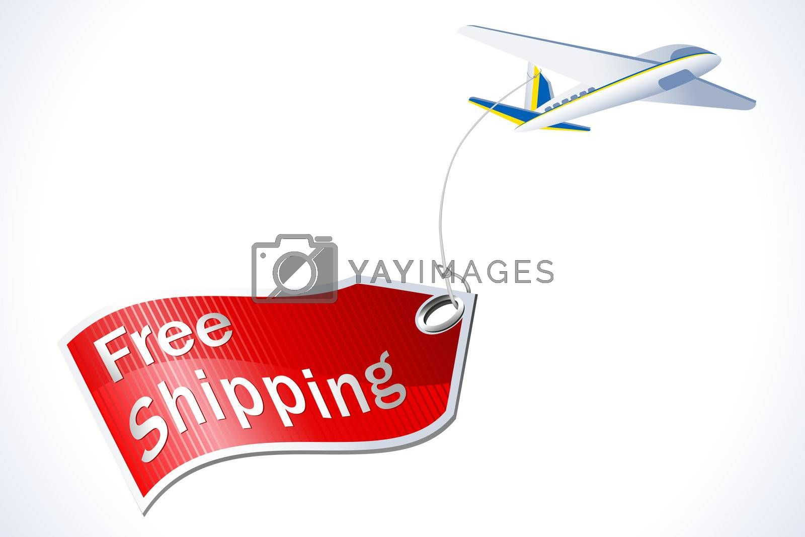 illustration of free shipping tag with plane on white background
