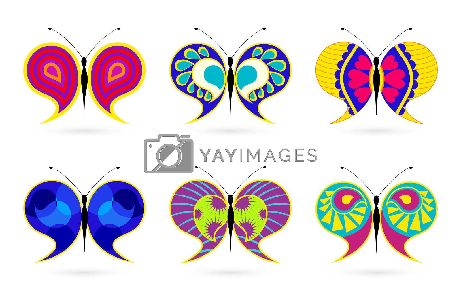 illustration of colorful butterfly on white background